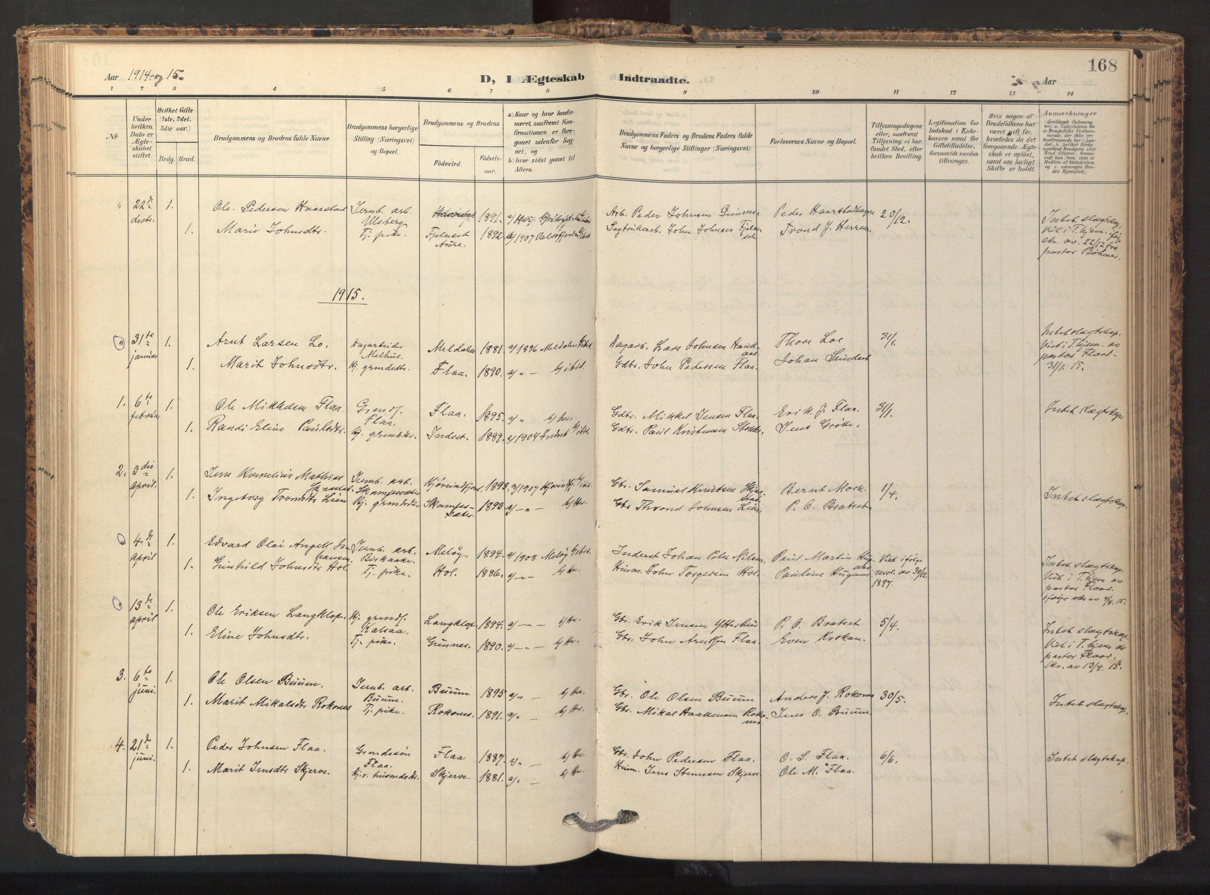 SAT, Ministerialprotokoller, klokkerbøker og fødselsregistre - Sør-Trøndelag, 674/L0873: Ministerialbok nr. 674A05, 1908-1923, s. 168