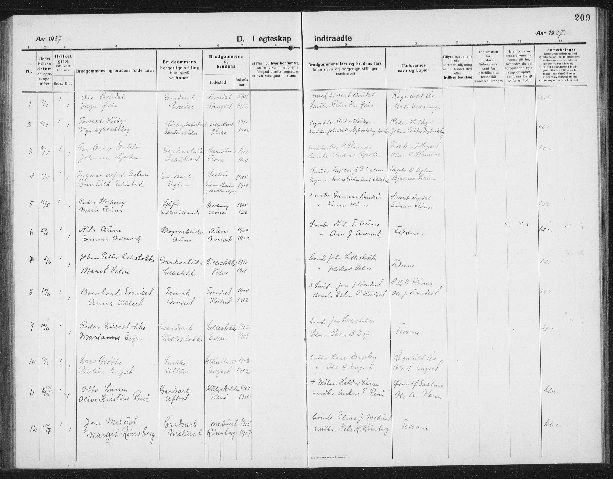 SAT, Ministerialprotokoller, klokkerbøker og fødselsregistre - Sør-Trøndelag, 695/L1158: Klokkerbok nr. 695C09, 1913-1940, s. 209