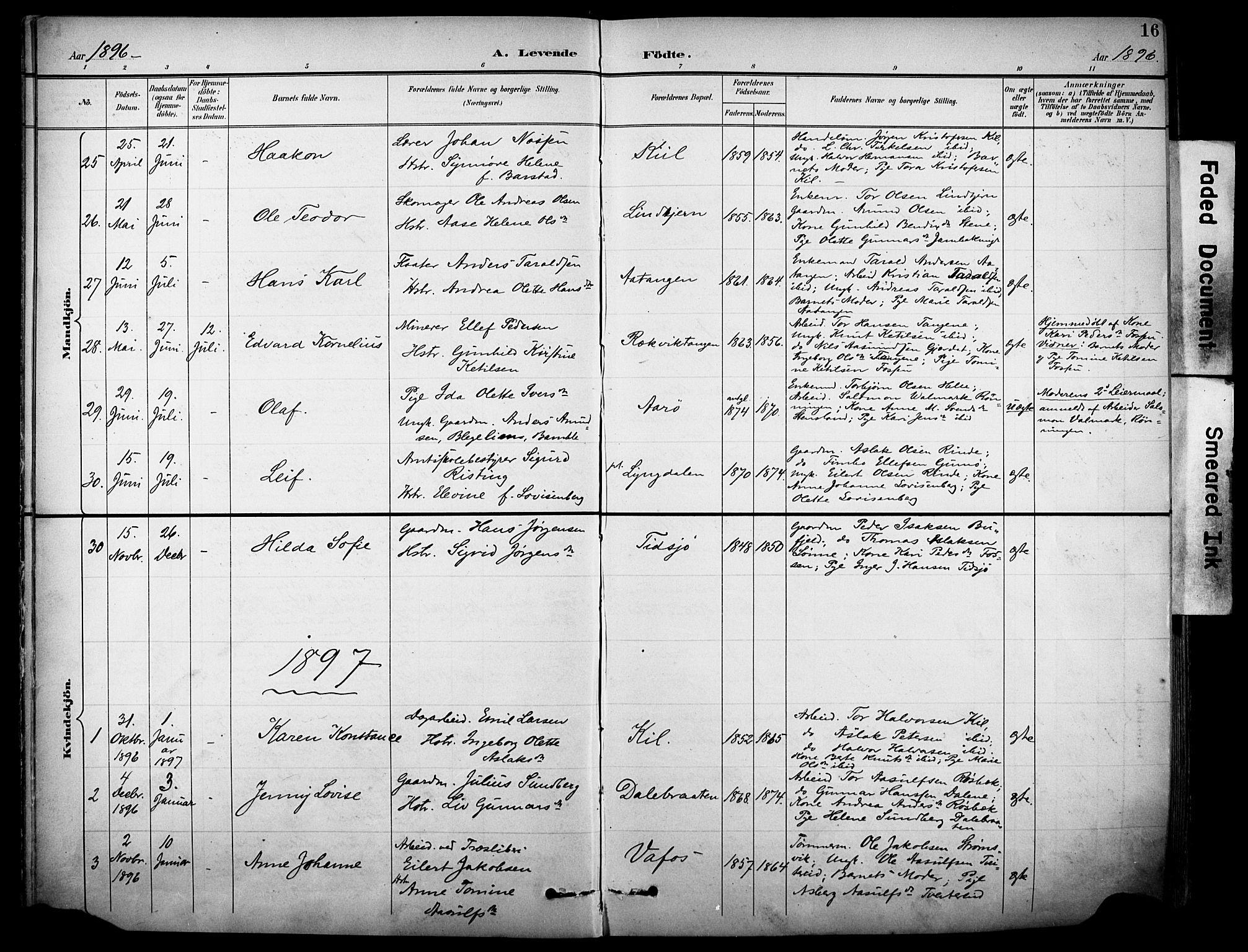 SAKO, Sannidal kirkebøker, F/Fa/L0016: Ministerialbok nr. 16, 1895-1911, s. 16