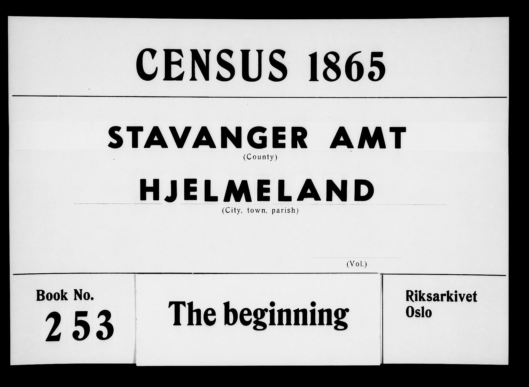 RA, Folketelling 1865 for 1133P Hjelmeland prestegjeld, 1865, s. 1