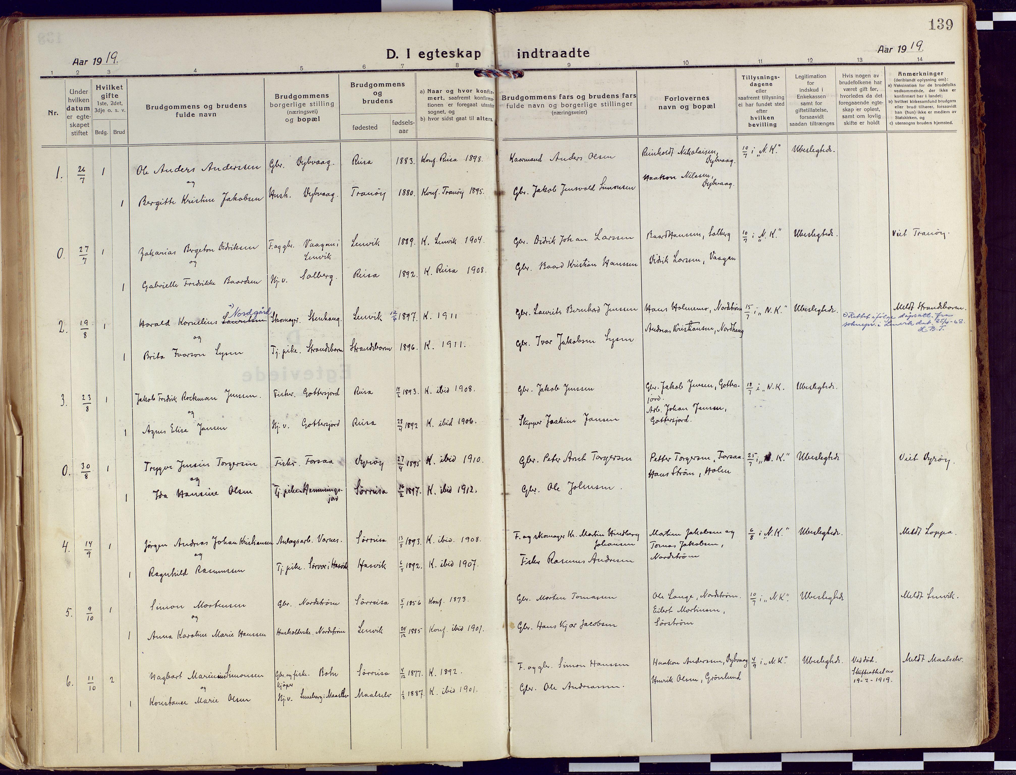 SATØ, Tranøy sokneprestkontor, I/Ia/Iaa/L0015kirke: Ministerialbok nr. 15, 1919-1928, s. 139