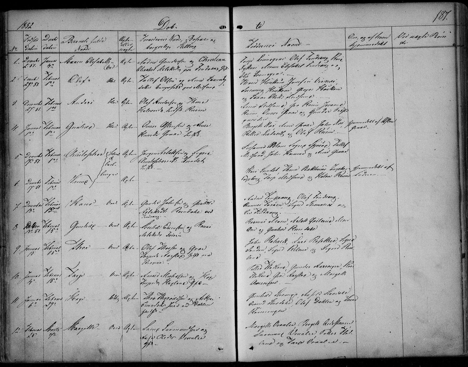 SAKO, Kviteseid kirkebøker, F/Fa/L0006: Ministerialbok nr. I 6, 1836-1858, s. 187
