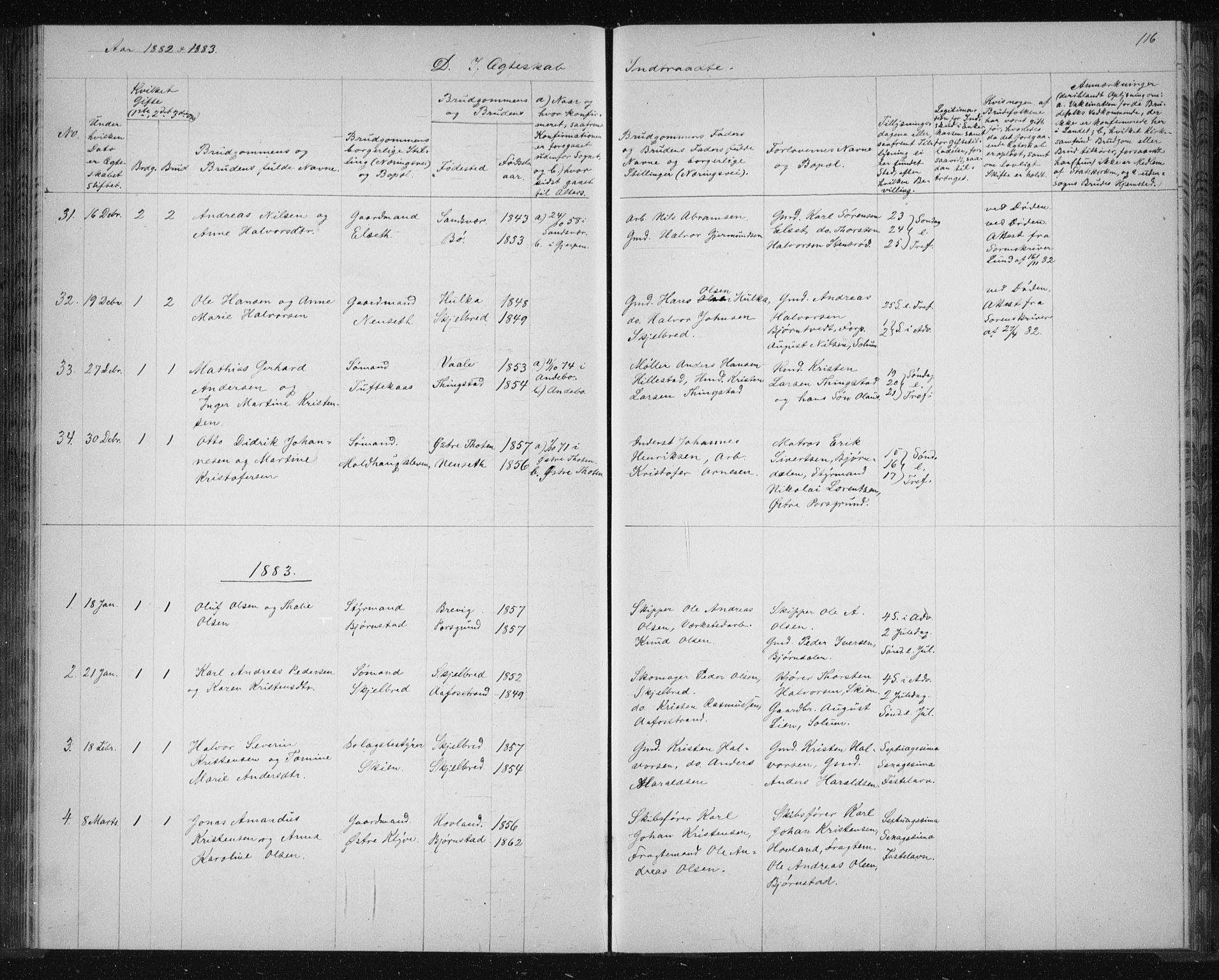 SAKO, Solum kirkebøker, G/Ga/L0006: Klokkerbok nr. I 6, 1882-1883, s. 116