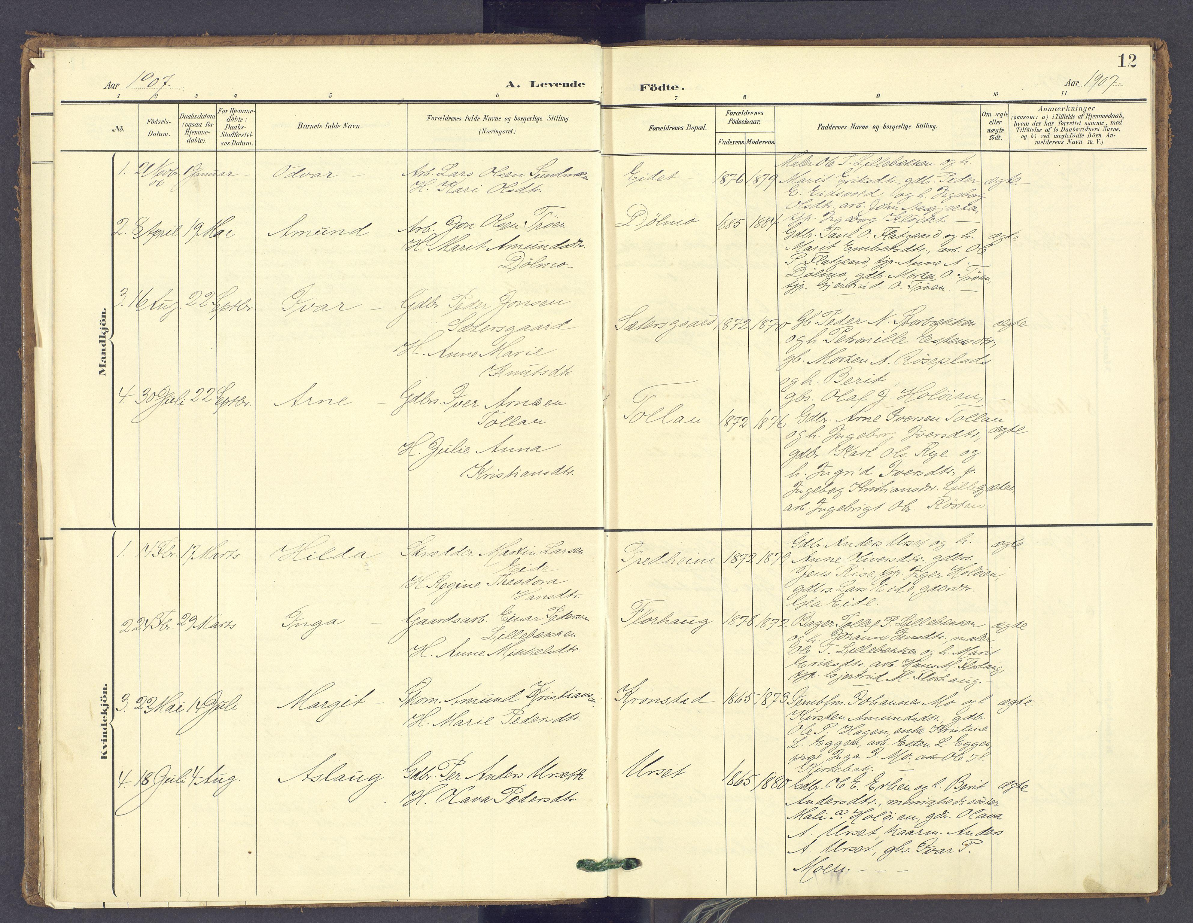 SAH, Tolga prestekontor, K/L0014: Ministerialbok nr. 14, 1903-1929, s. 12