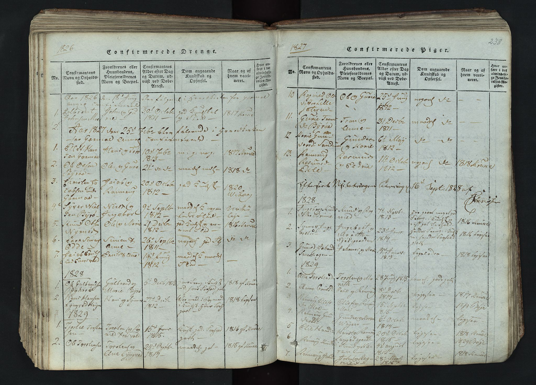 SAH, Lom prestekontor, L/L0002: Klokkerbok nr. 2, 1815-1844, s. 238