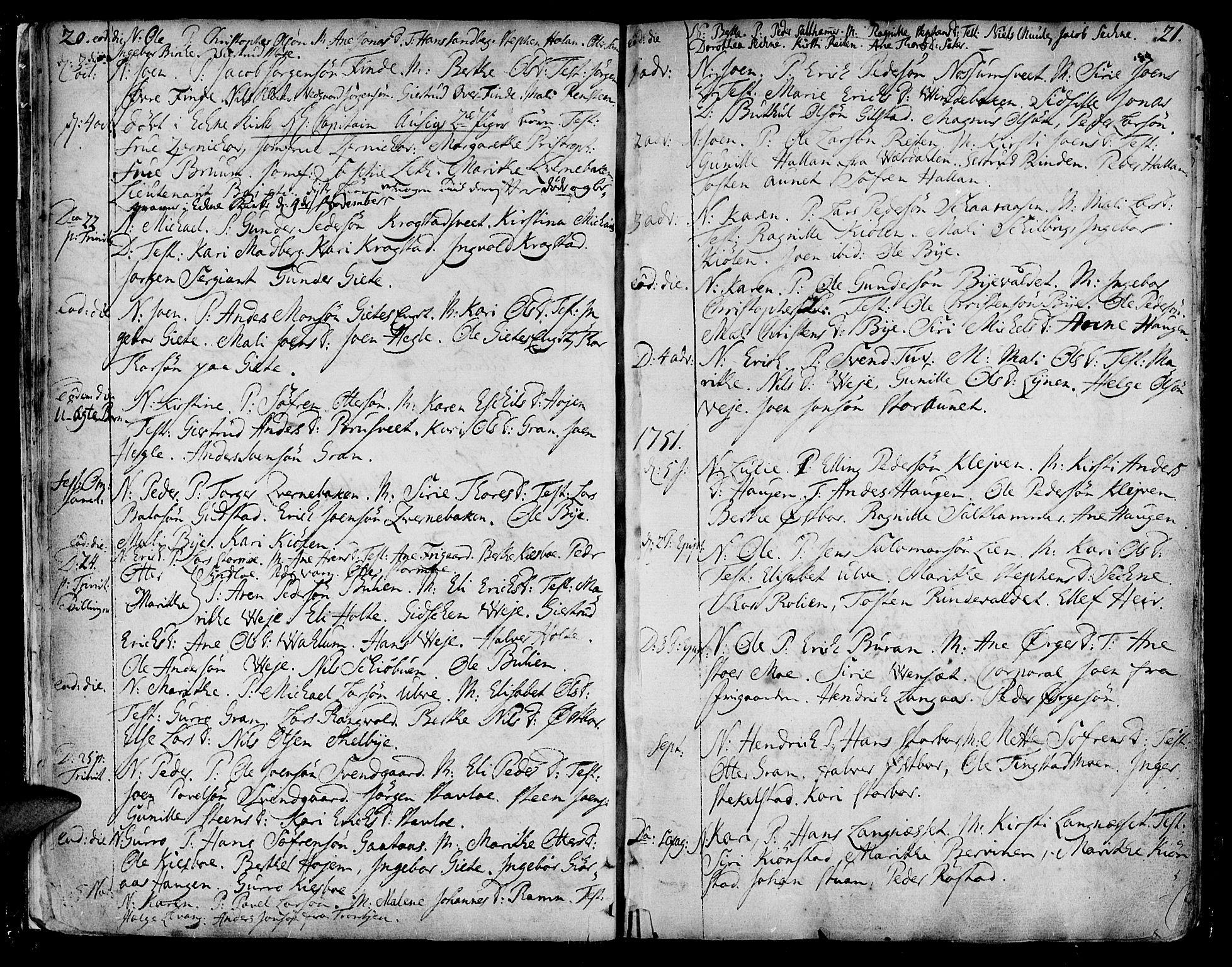 SAT, Ministerialprotokoller, klokkerbøker og fødselsregistre - Nord-Trøndelag, 717/L0141: Ministerialbok nr. 717A01, 1747-1803, s. 20-21