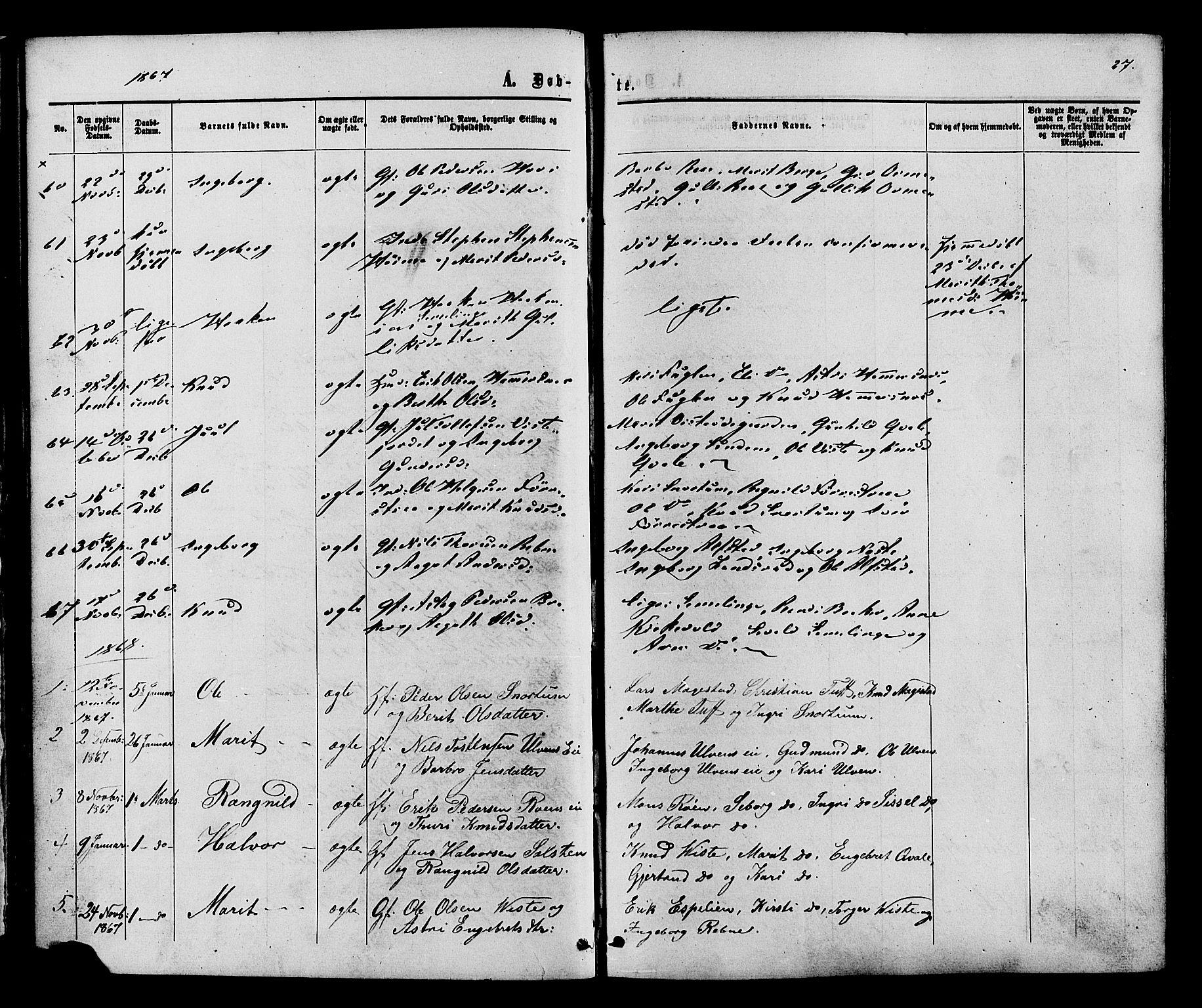 SAH, Vestre Slidre prestekontor, Ministerialbok nr. 3, 1865-1880, s. 27