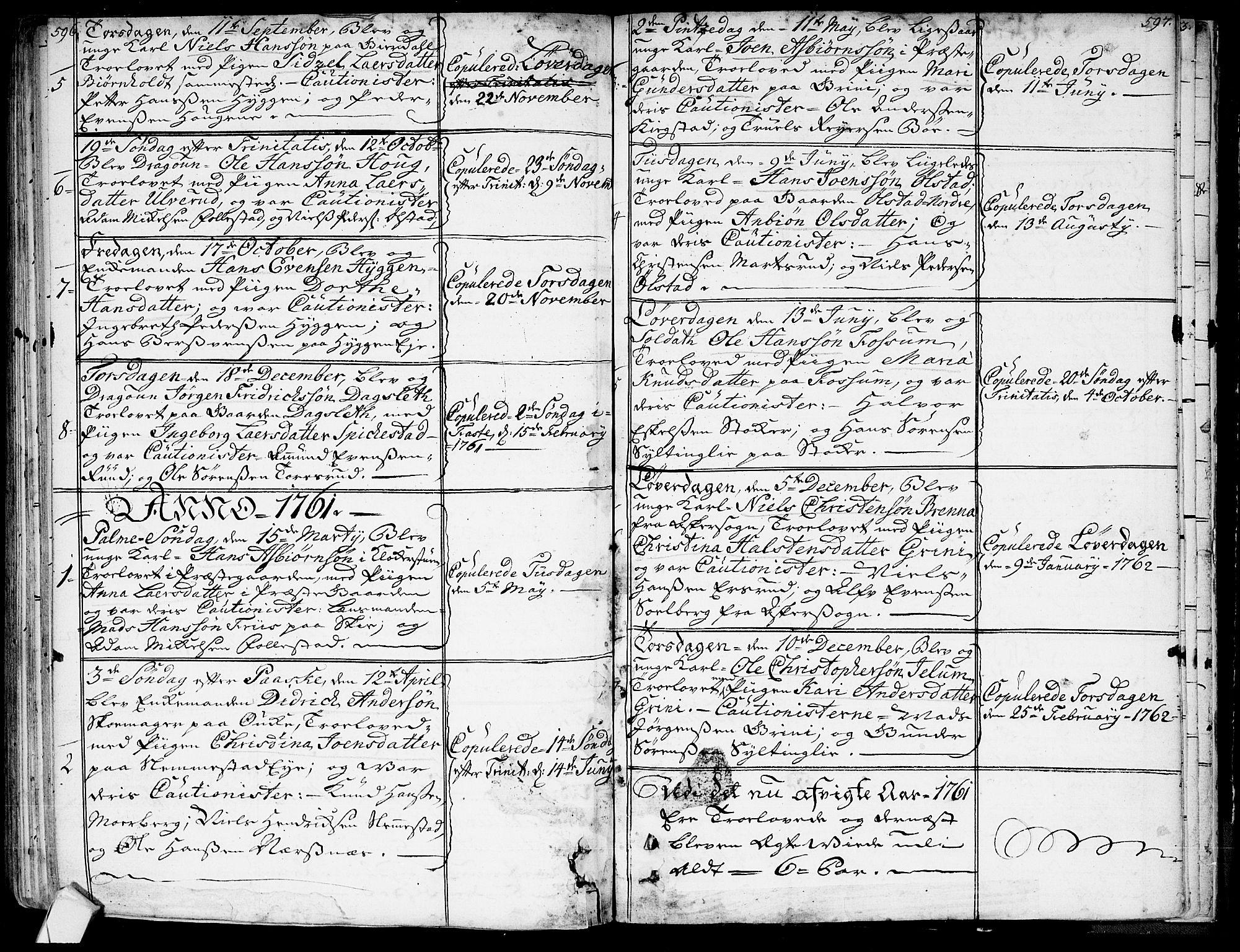 SAKO, Røyken kirkebøker, G/Ga/L0001: Klokkerbok nr. 1, 1740-1768, s. 596-597