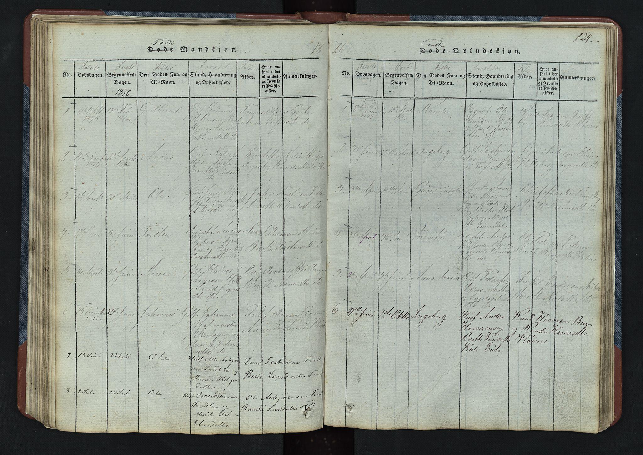 SAH, Vang prestekontor, Valdres, Klokkerbok nr. 3, 1814-1892, s. 124