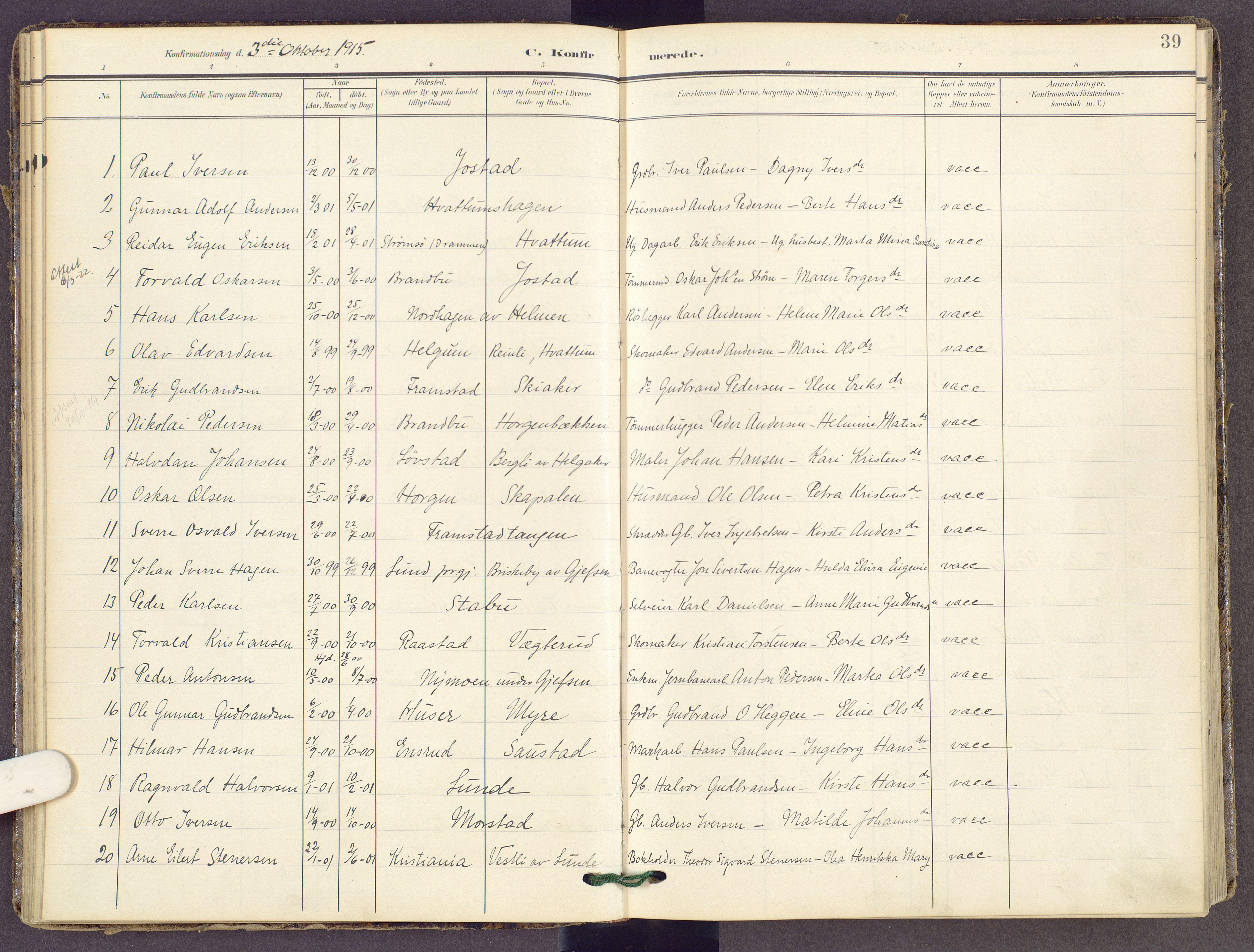 SAH, Gran prestekontor, Ministerialbok nr. 22, 1908-1918, s. 39
