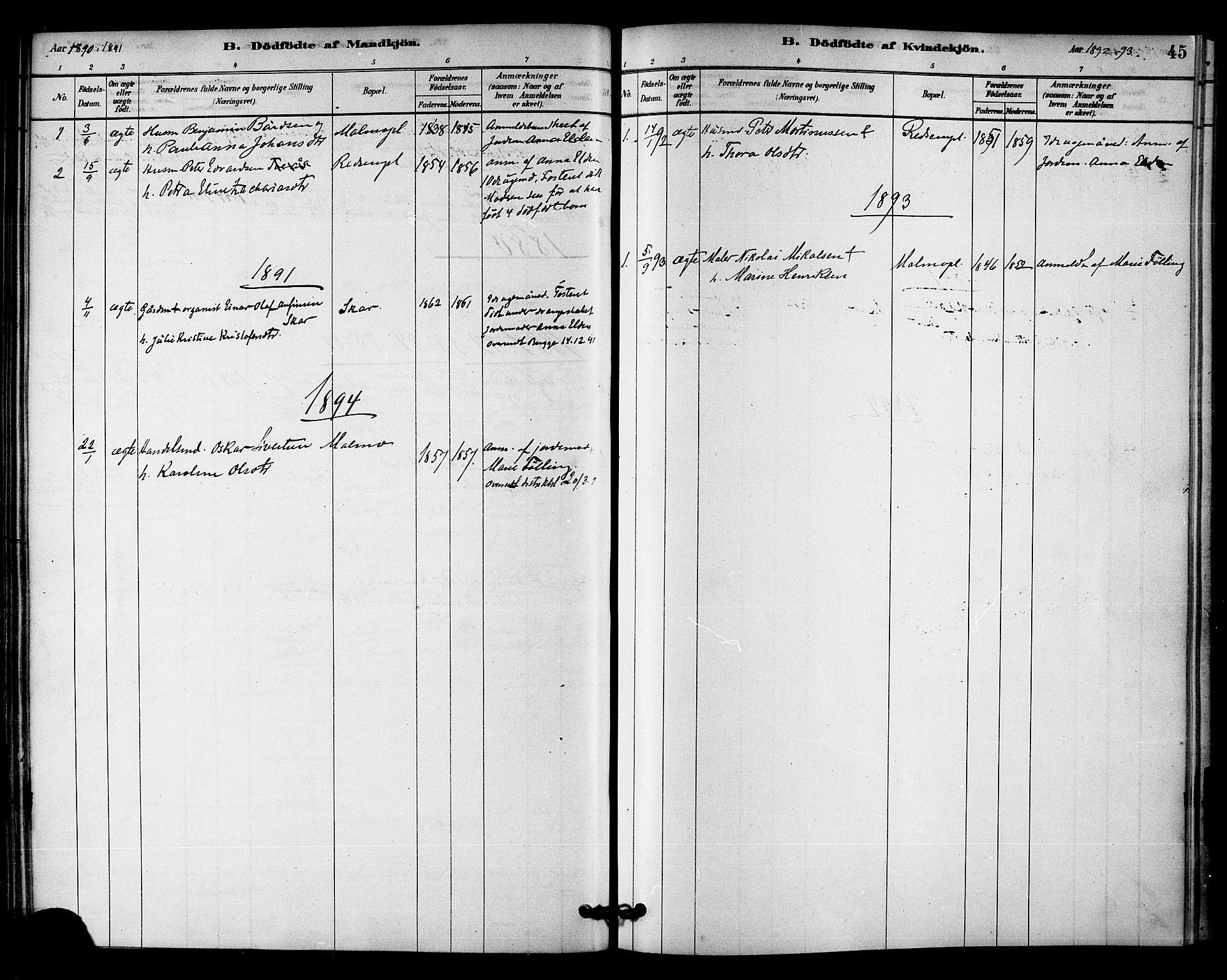 SAT, Ministerialprotokoller, klokkerbøker og fødselsregistre - Nord-Trøndelag, 745/L0429: Ministerialbok nr. 745A01, 1878-1894, s. 45