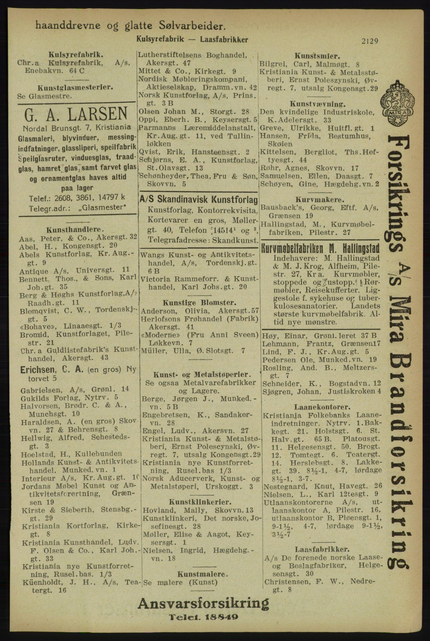 RA, Kristiania adressebok (publikasjon)*, 1918, s. 2129