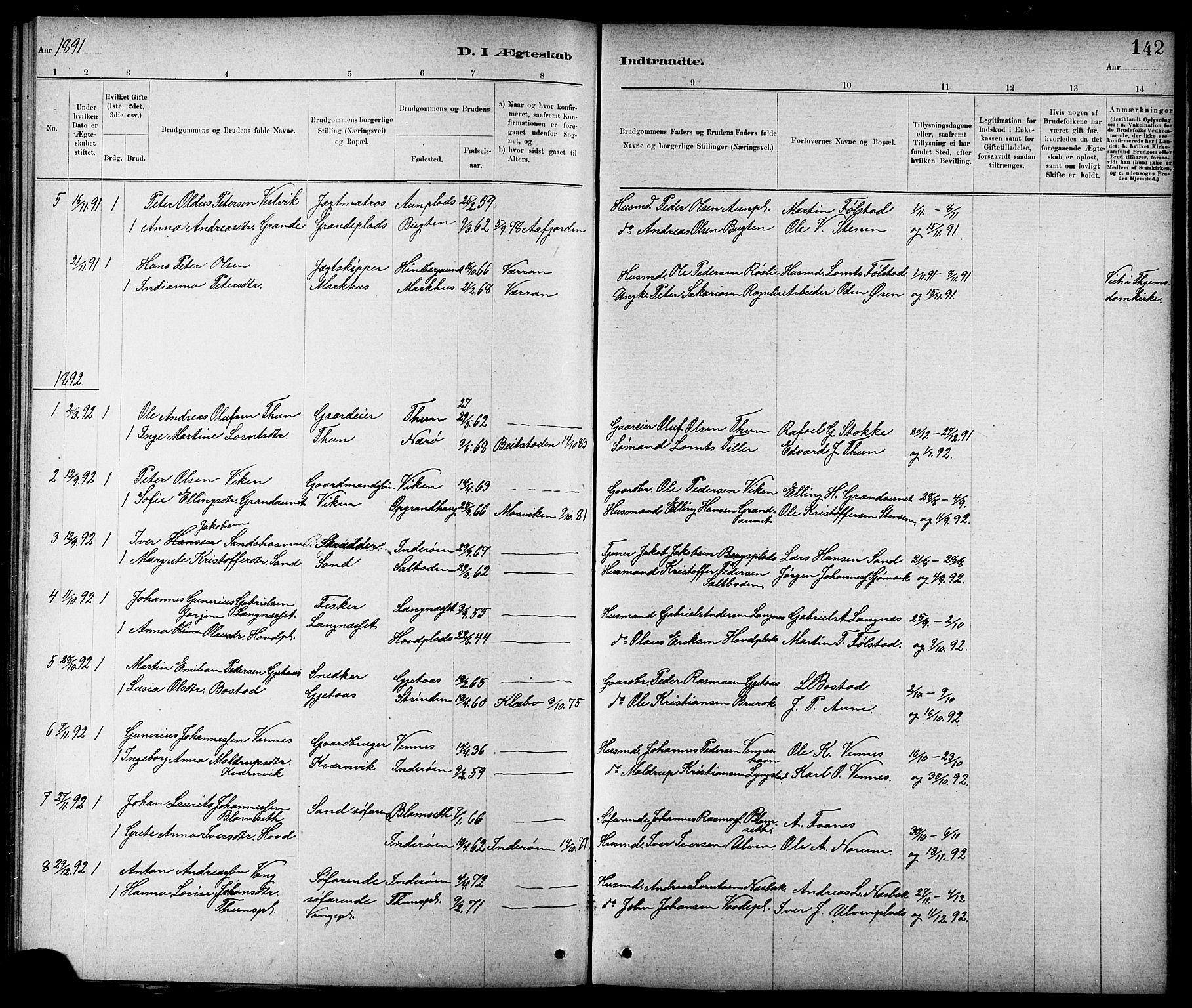SAT, Ministerialprotokoller, klokkerbøker og fødselsregistre - Nord-Trøndelag, 744/L0423: Klokkerbok nr. 744C02, 1886-1905, s. 142