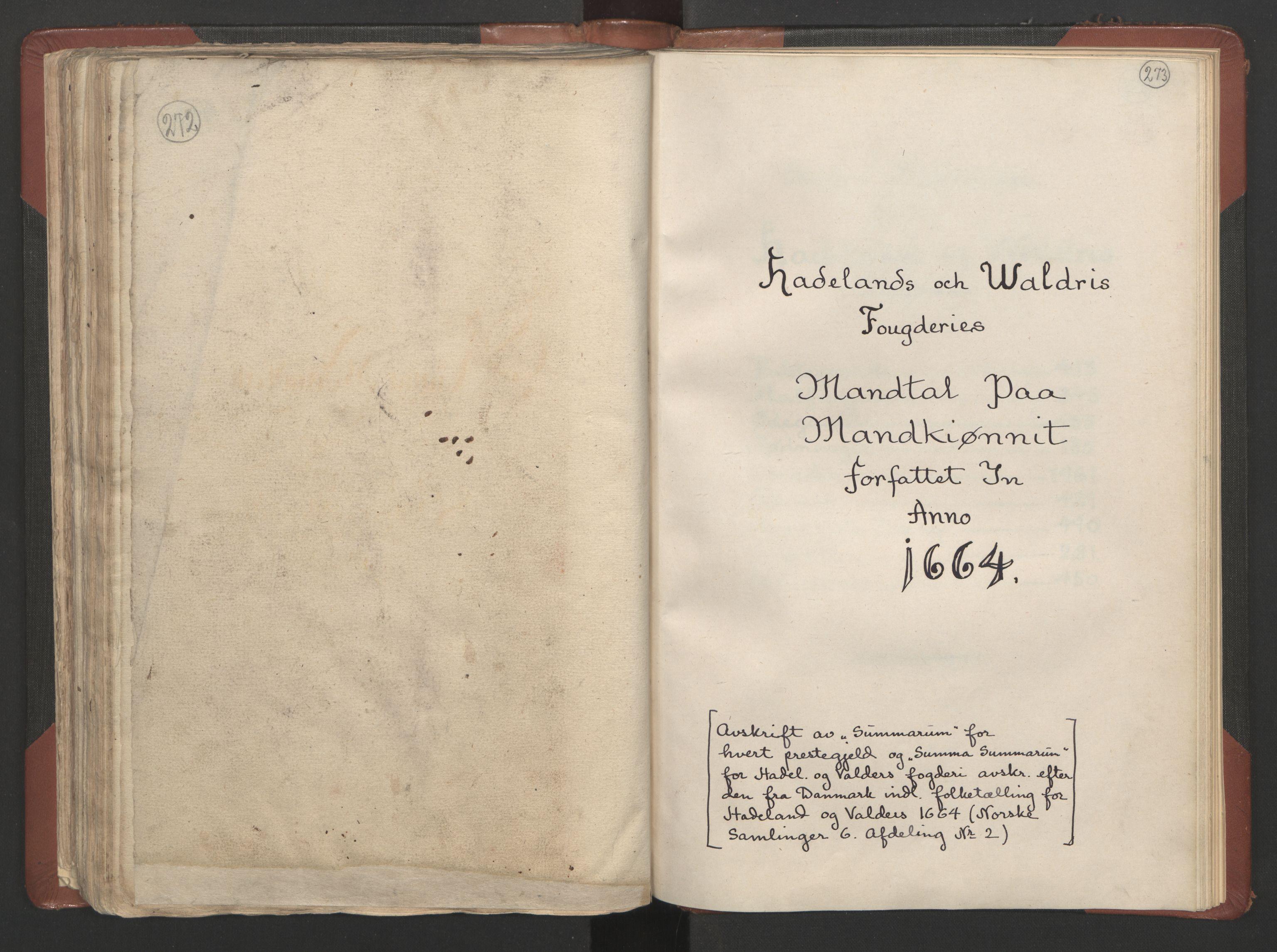 RA, Fogdenes og sorenskrivernes manntall 1664-1666, nr. 4: Hadeland og Valdres fogderi og Gudbrandsdal fogderi, 1664, s. 272-273
