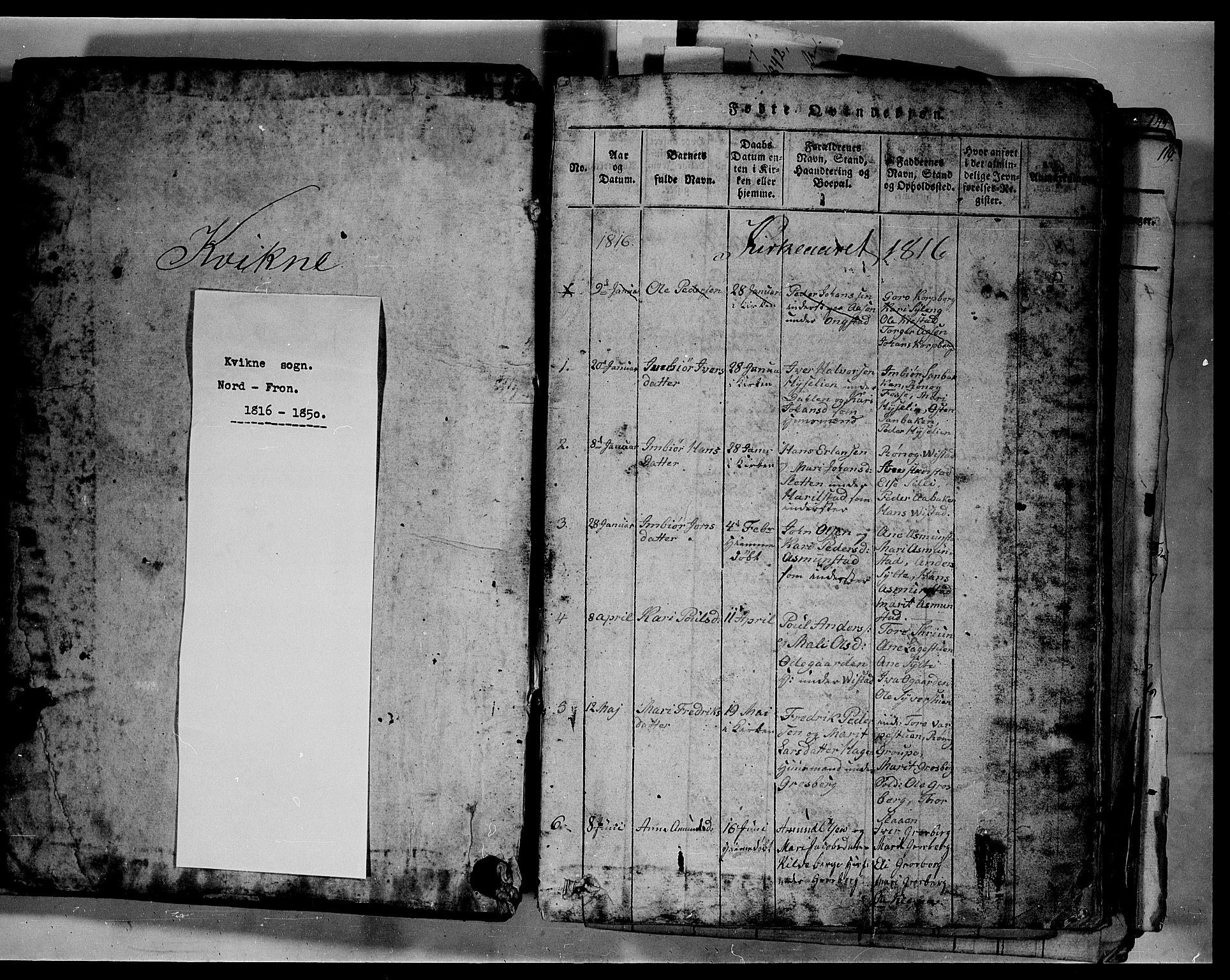 SAH, Fron prestekontor, H/Ha/Hab/L0003: Klokkerbok nr. 3, 1816-1850, s. 1