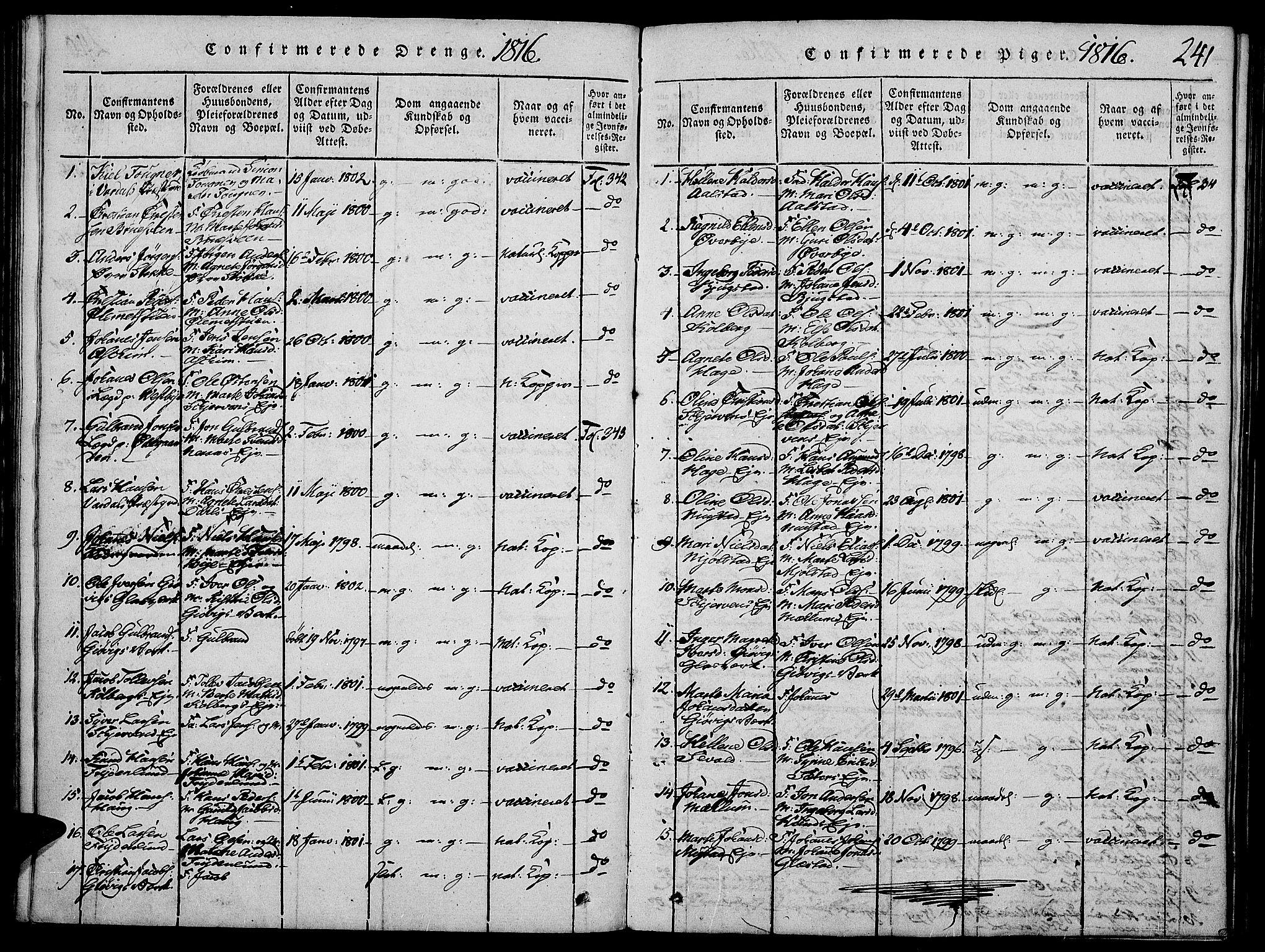 SAH, Vardal prestekontor, H/Ha/Haa/L0004: Ministerialbok nr. 4, 1814-1831, s. 241