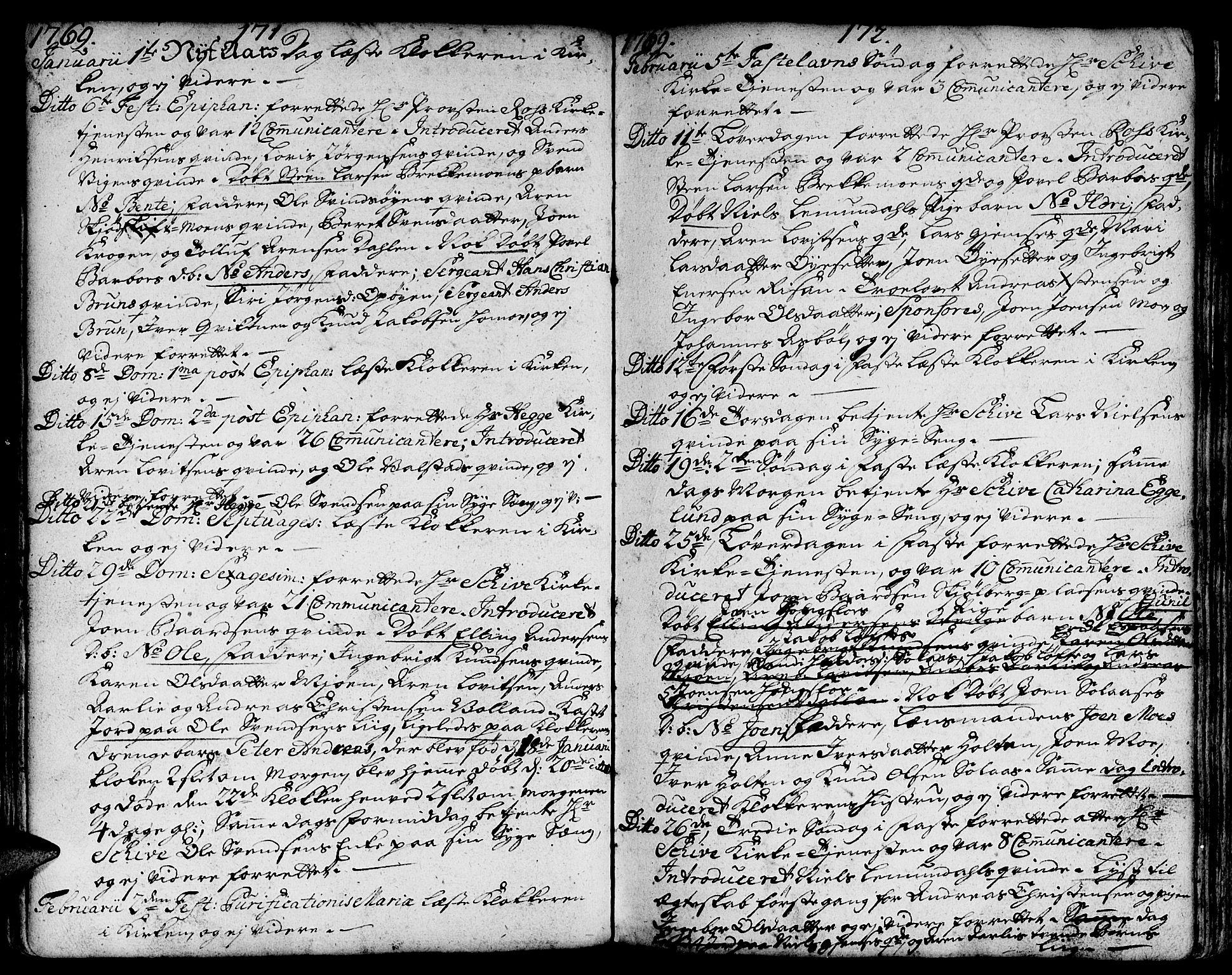 SAT, Ministerialprotokoller, klokkerbøker og fødselsregistre - Sør-Trøndelag, 671/L0840: Ministerialbok nr. 671A02, 1756-1794, s. 171-172