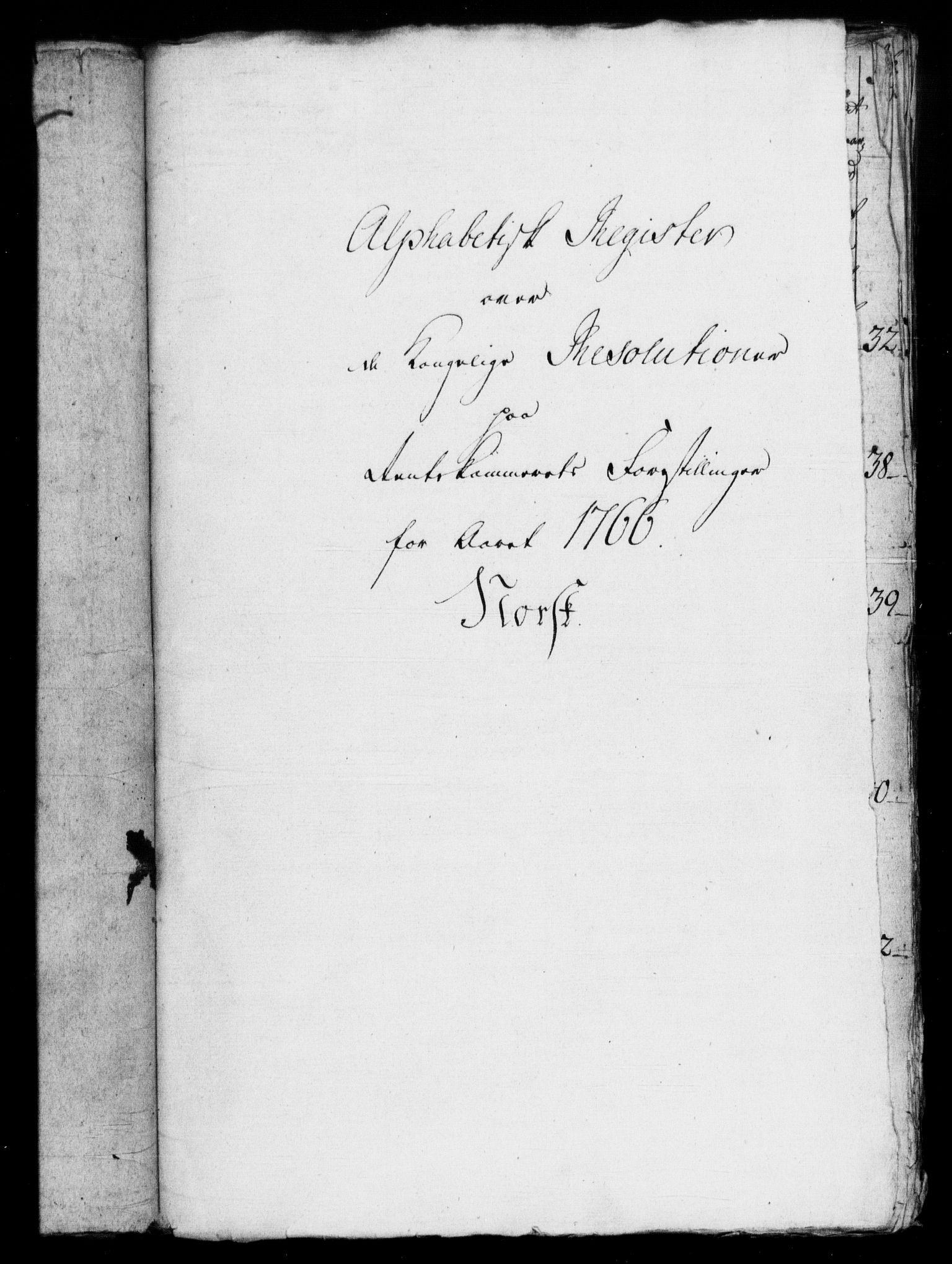RA, Rentekammeret, Kammerkanselliet, G/Gf/Gfb/L0007: Register til norske relasjons- og resolusjonsprotokoller (merket RK 52.102), 1765-1771, s. 66