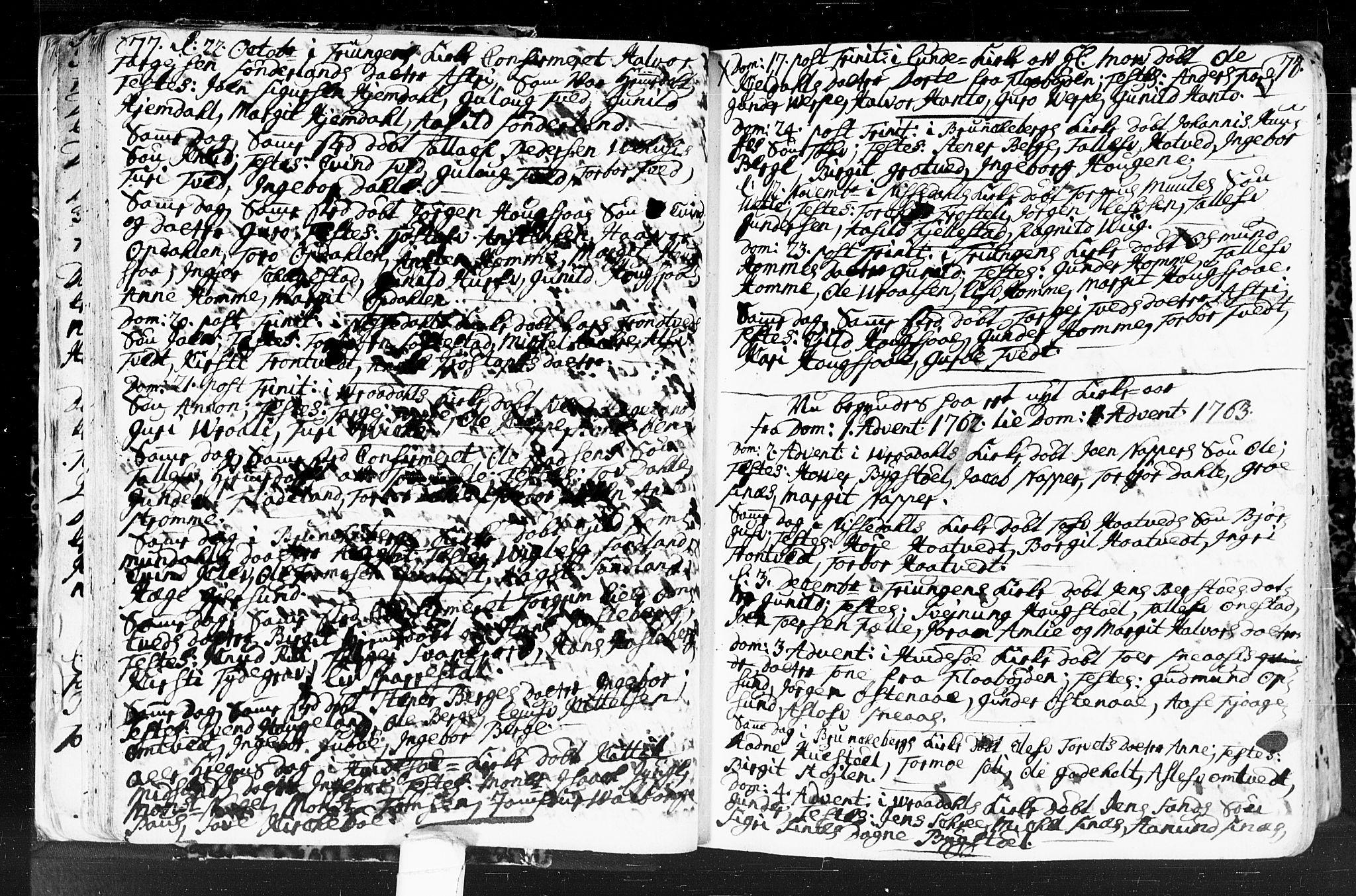 SAKO, Kviteseid kirkebøker, F/Fa/L0001: Ministerialbok nr. I 1, 1754-1773, s. 77-78