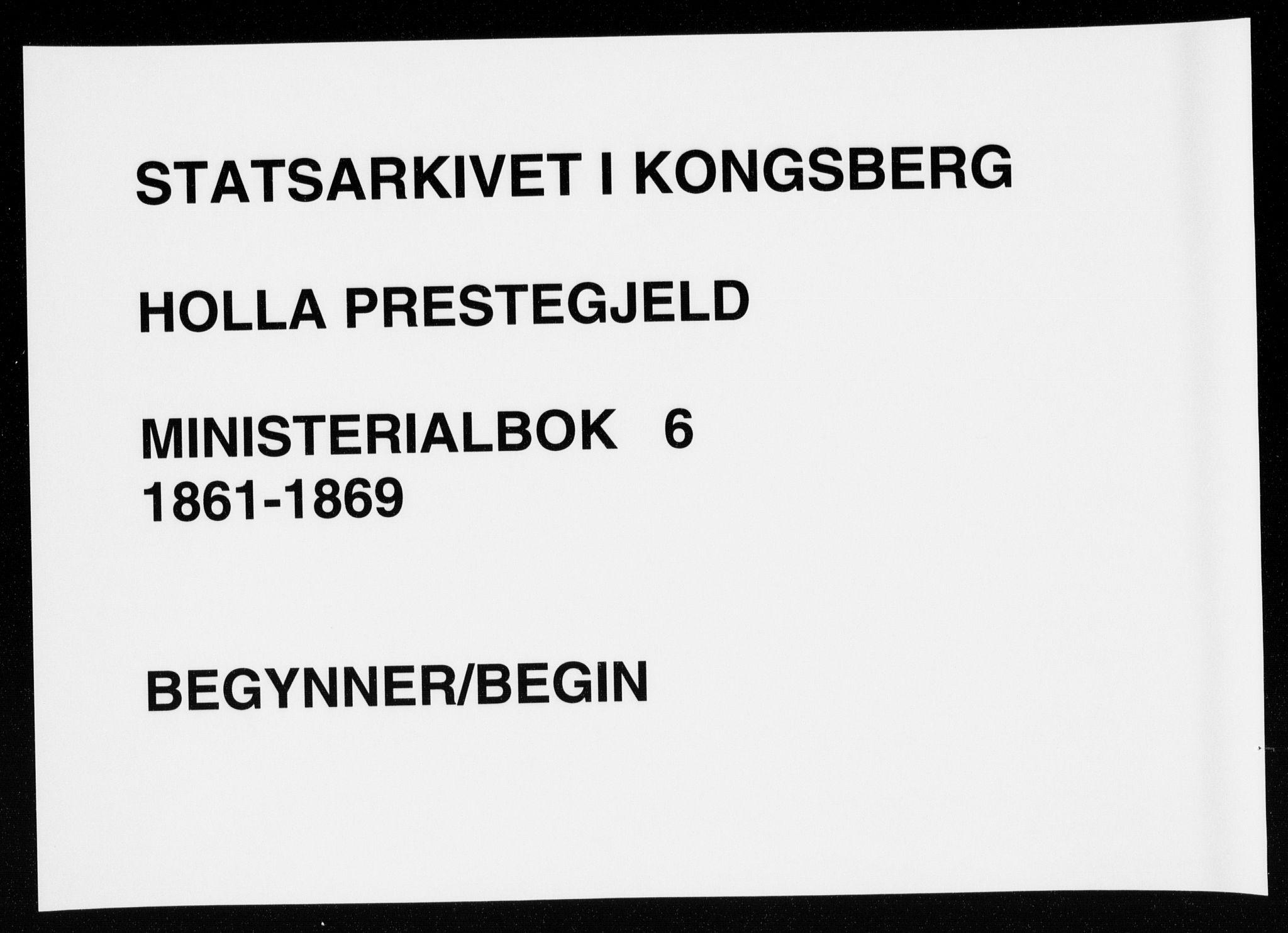 SAKO, Holla kirkebøker, F/Fa/L0006: Ministerialbok nr. 6, 1861-1869
