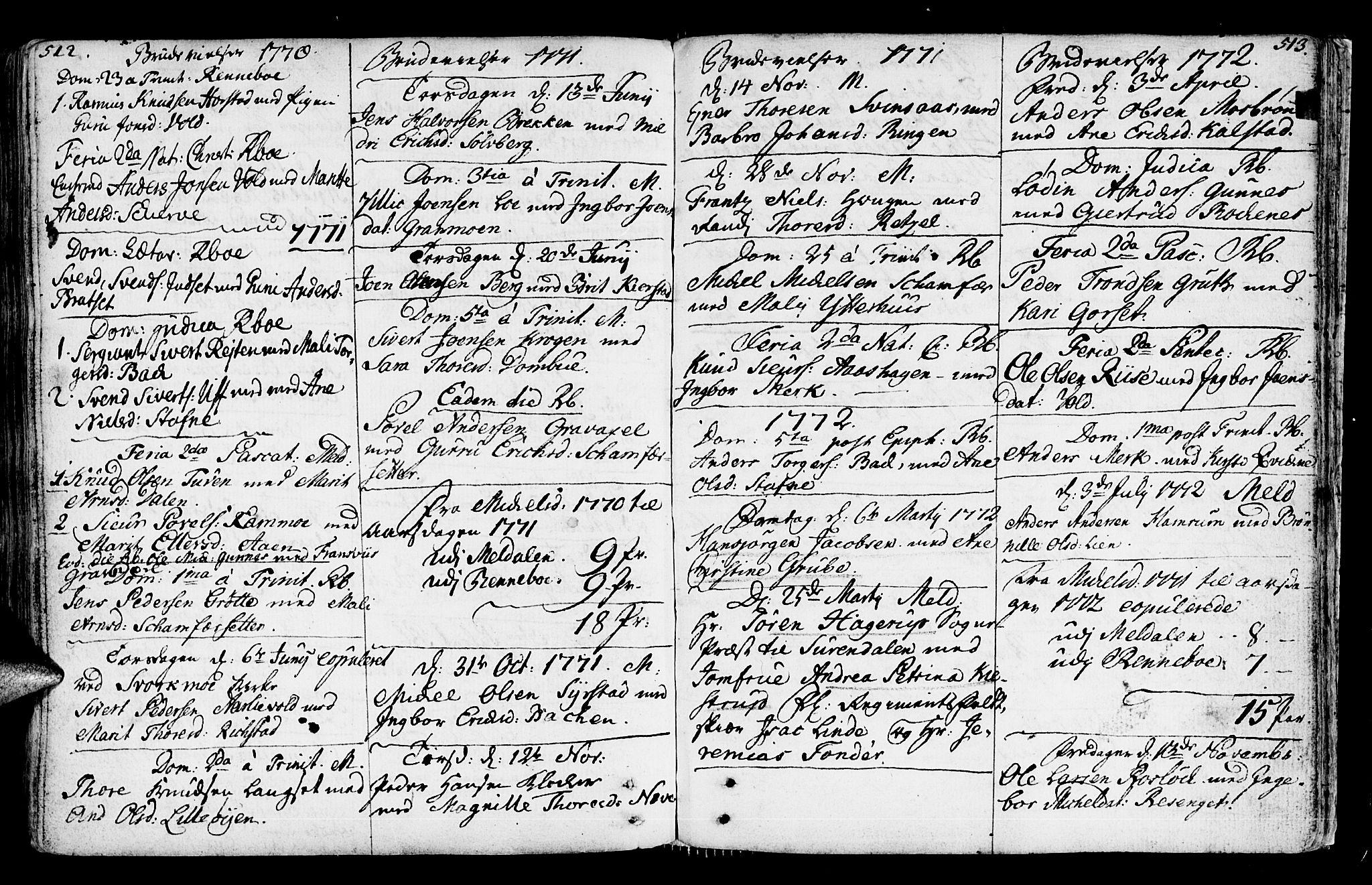 SAT, Ministerialprotokoller, klokkerbøker og fødselsregistre - Sør-Trøndelag, 672/L0851: Ministerialbok nr. 672A04, 1751-1775, s. 512-513