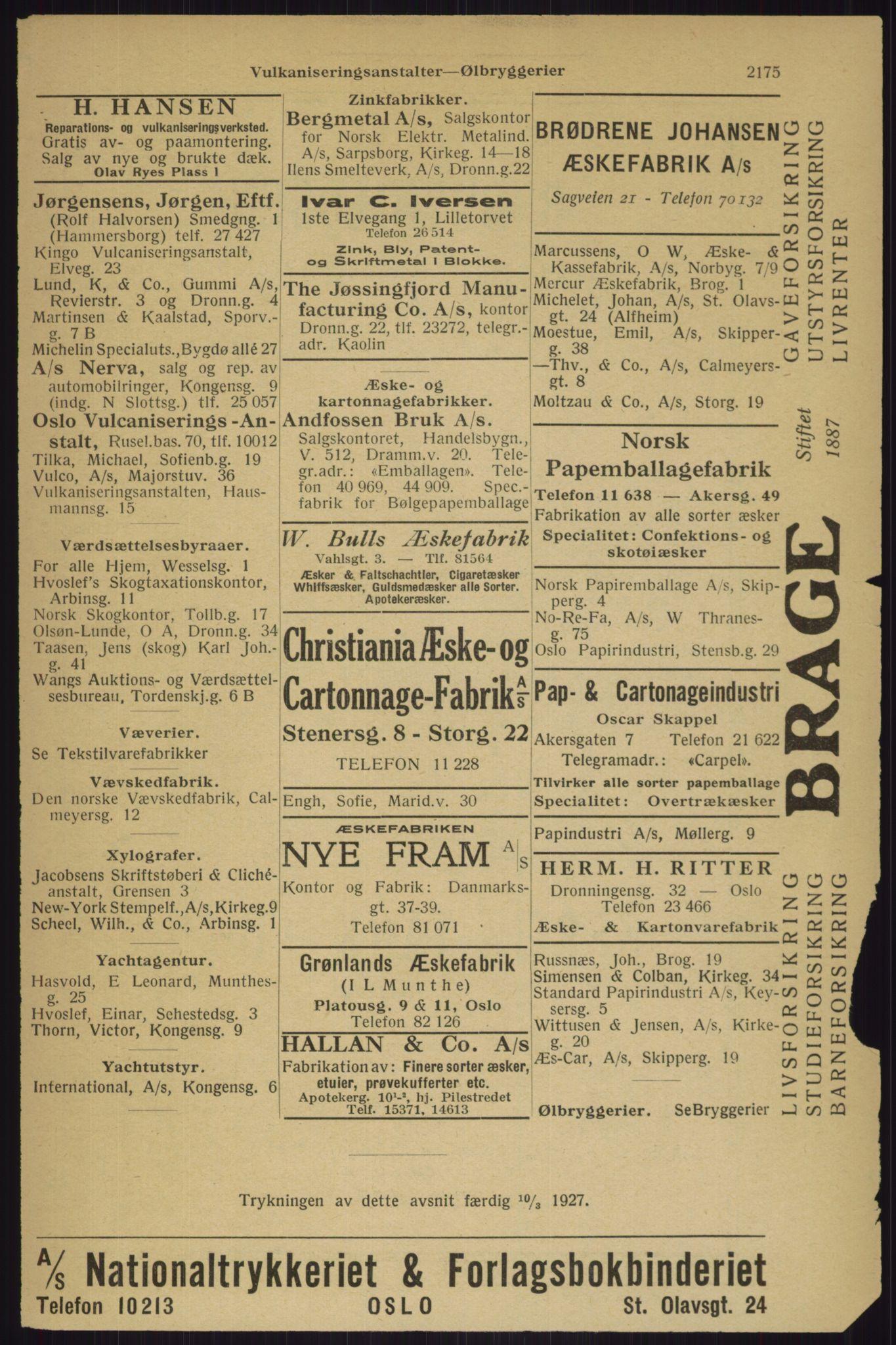 RA, Oslo adressebok (publikasjon)*, 1927, s. 2175