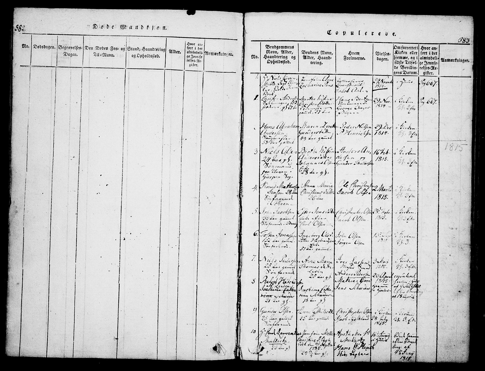 SAKO, Skien kirkebøker, G/Ga/L0002: Klokkerbok nr. 2, 1814-1842, s. 382-383