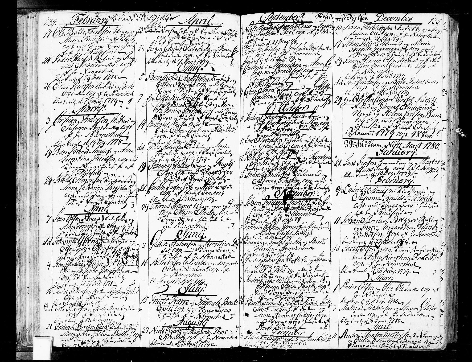 SAO, Oslo domkirke Kirkebøker, F/Fa/L0004: Ministerialbok nr. 4, 1743-1786, s. 134-135