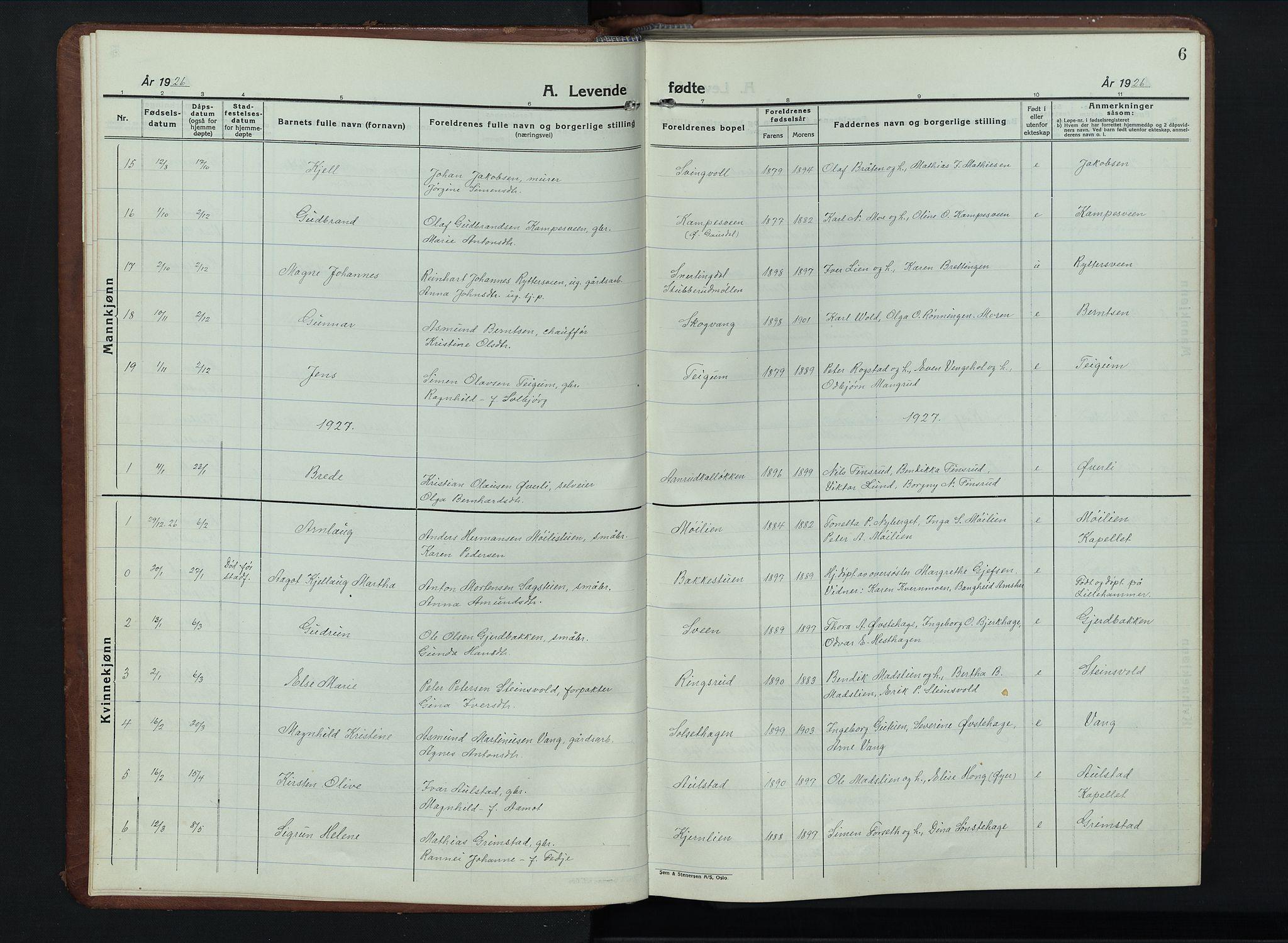 SAH, Vestre Gausdal prestekontor, Klokkerbok nr. 5, 1926-1955, s. 6