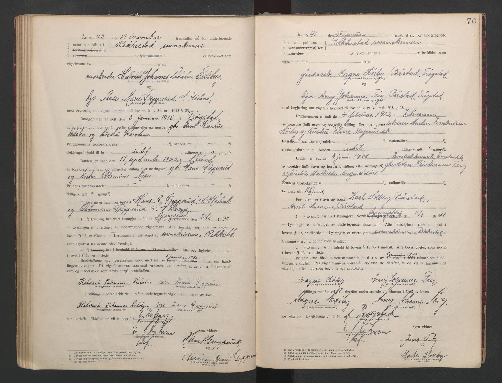 SAO, Rakkestad sorenskriveri, L/Lc/Lca/L0001: Vigselbøker, 1920-1942, s. 76