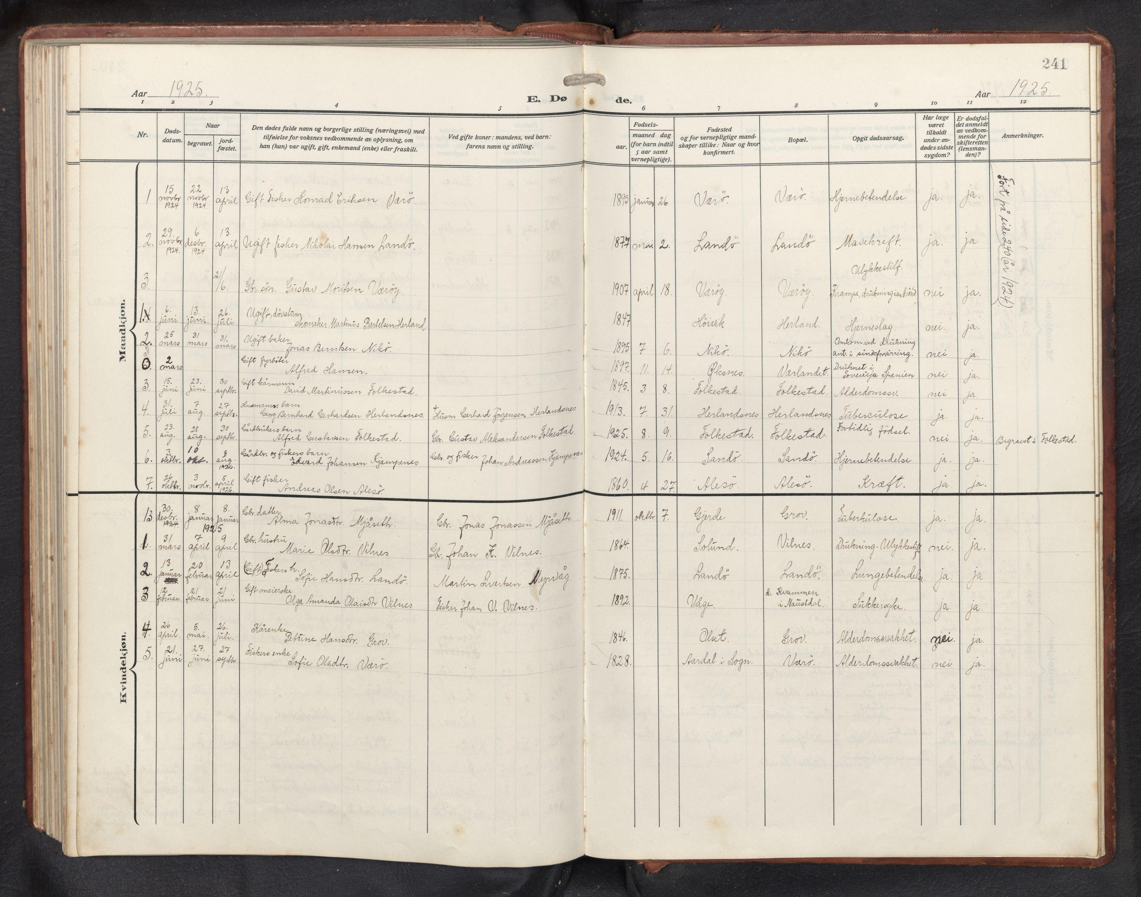 SAB, Askvoll sokneprestembete, H/Hab/Habb/L0002: Klokkerbok nr. B 2, 1910-1947, s. 240b-241a