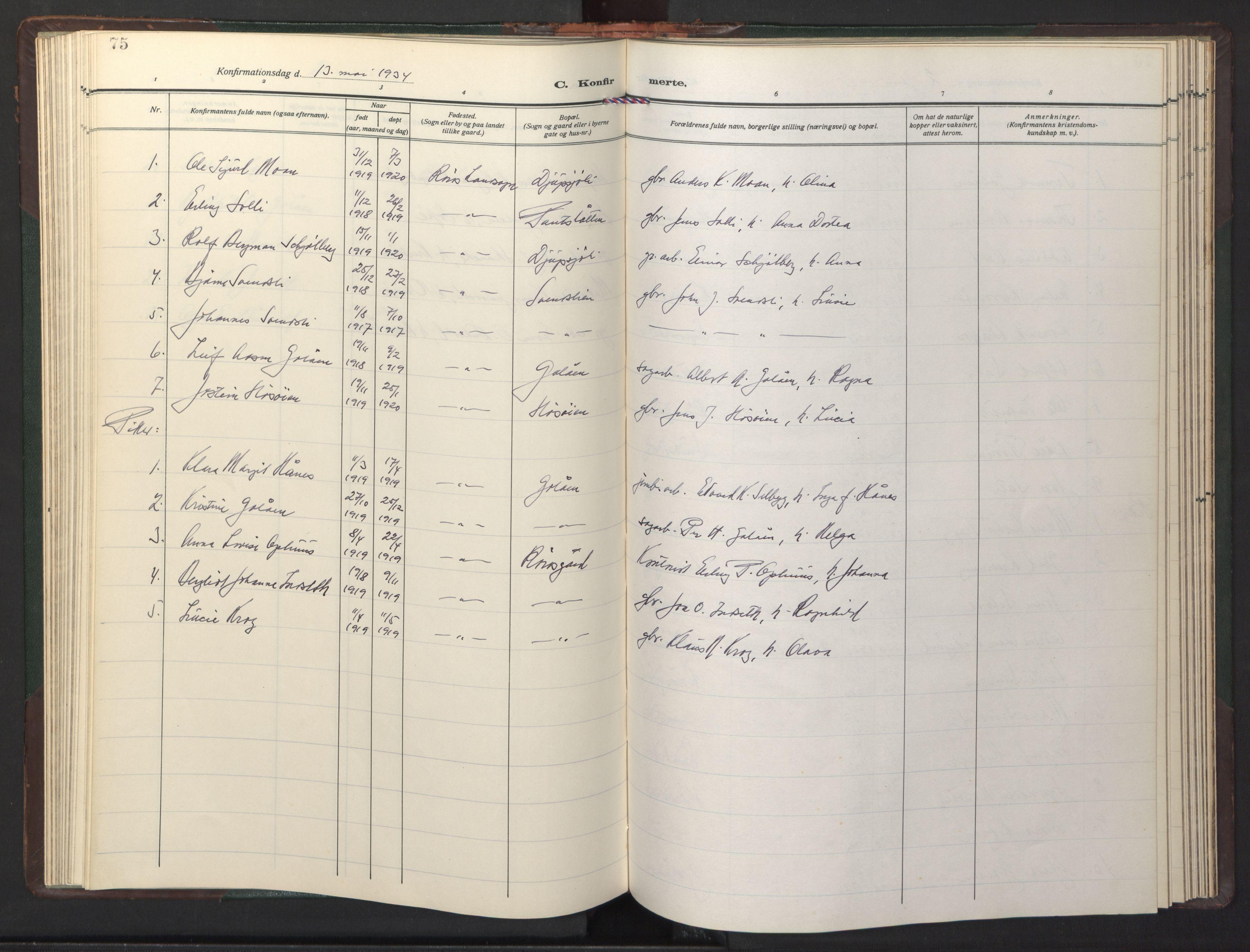 SAT, Ministerialprotokoller, klokkerbøker og fødselsregistre - Sør-Trøndelag, 681/L0944: Klokkerbok nr. 681C08, 1926-1954, s. 75