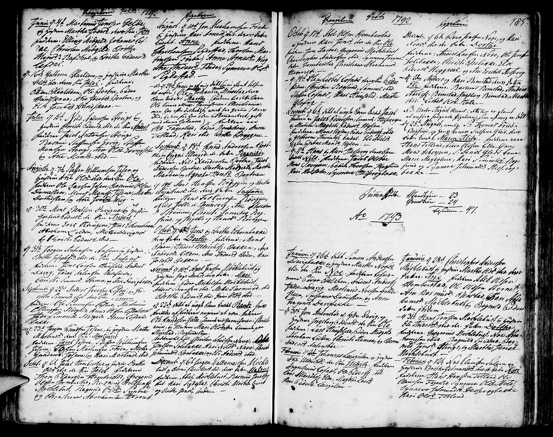 SAB, Davik Sokneprestembete, Ministerialbok nr. A 2, 1742-1816, s. 185