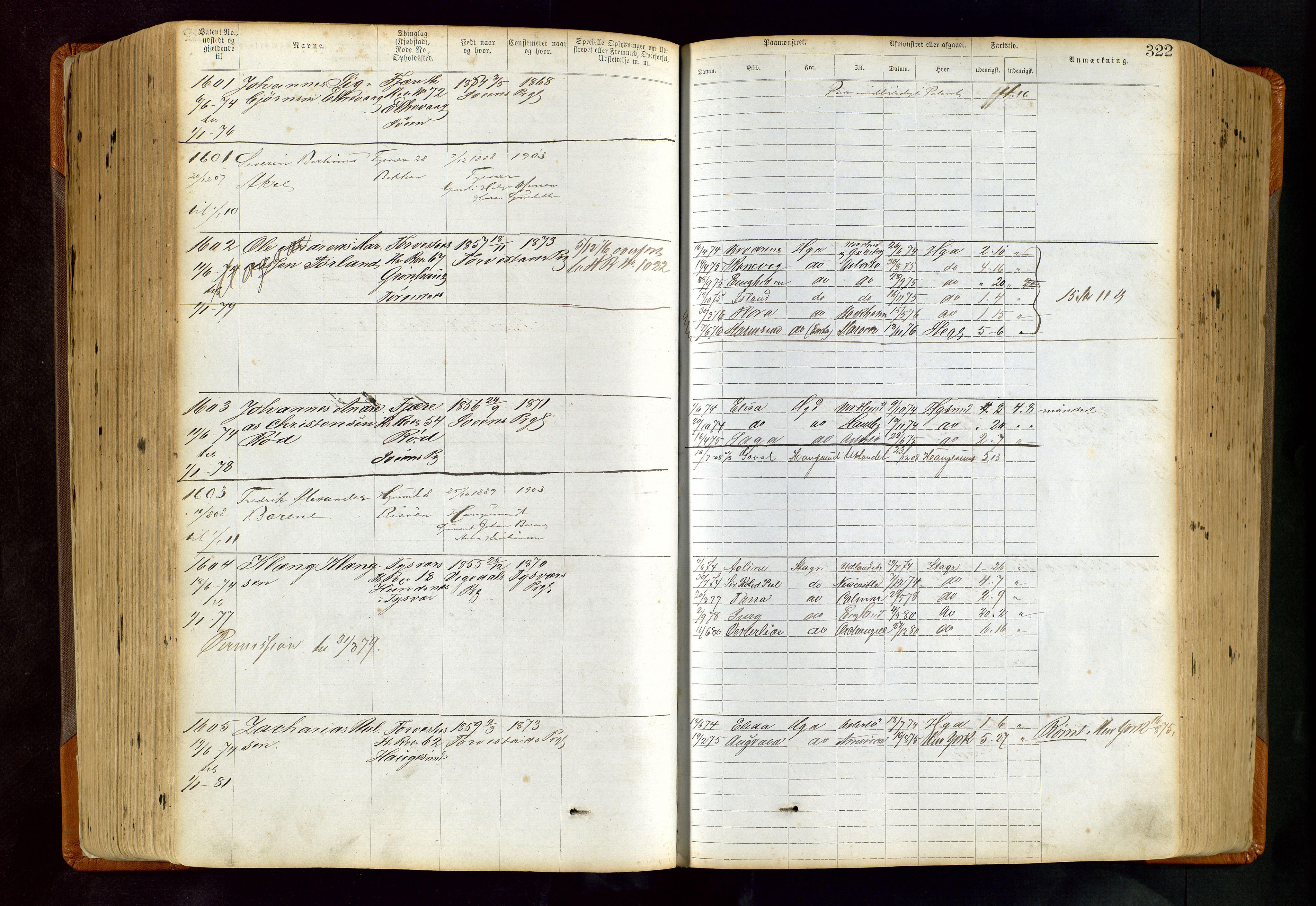 SAST, Haugesund sjømannskontor, F/Ff/L0004: Sjøfartsrulle Haugesund krets nr. 1 - 3586, 1868-1948, s. 322