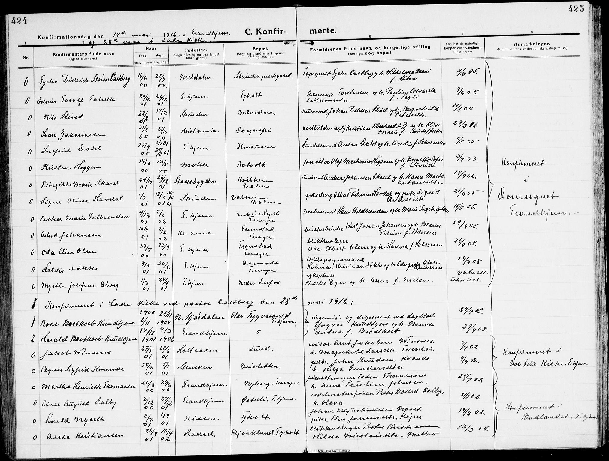 SAT, Ministerialprotokoller, klokkerbøker og fødselsregistre - Sør-Trøndelag, 607/L0321: Ministerialbok nr. 607A05, 1916-1935, s. 424-425