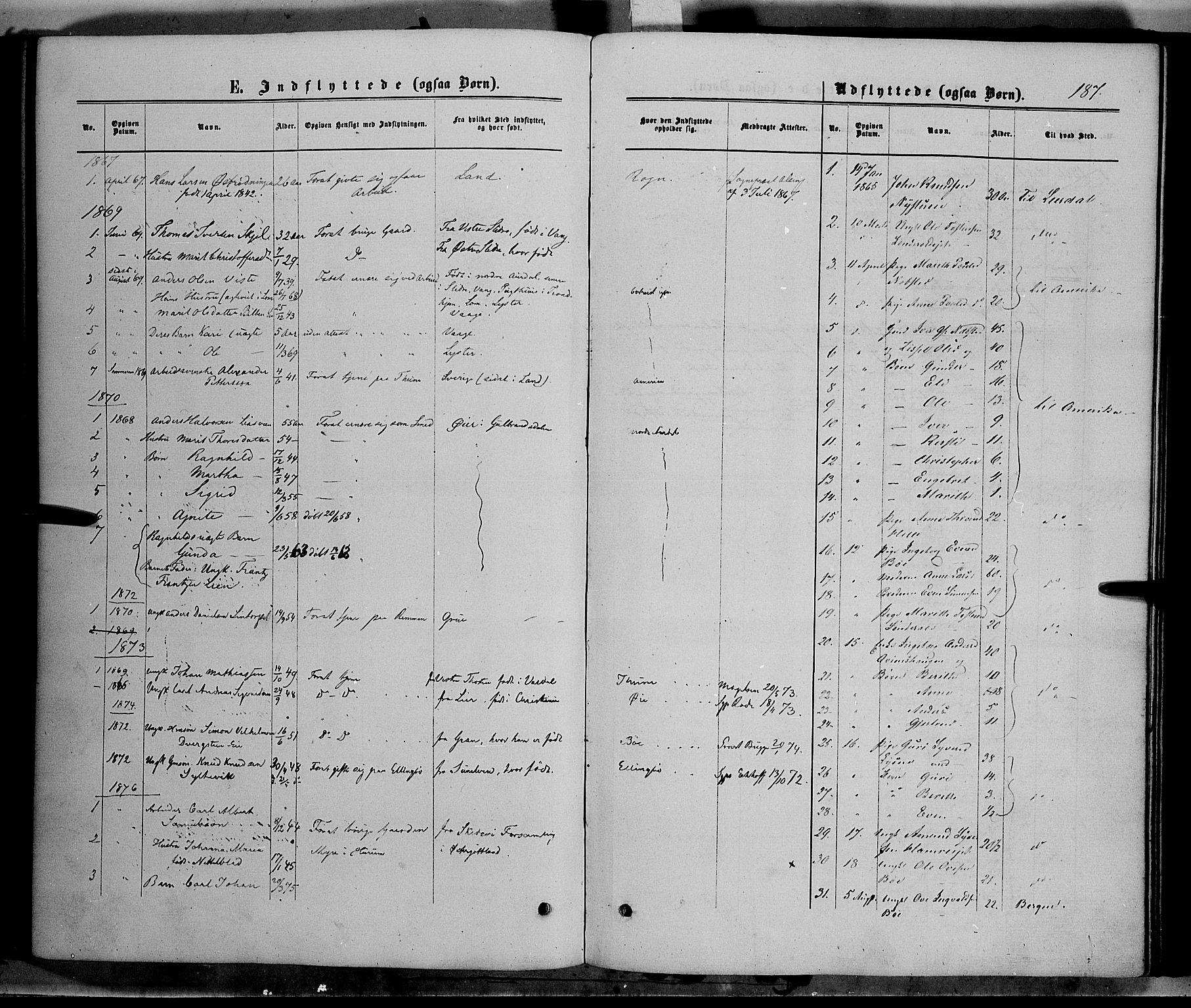 SAH, Vang prestekontor, Valdres, Ministerialbok nr. 7, 1865-1881, s. 187