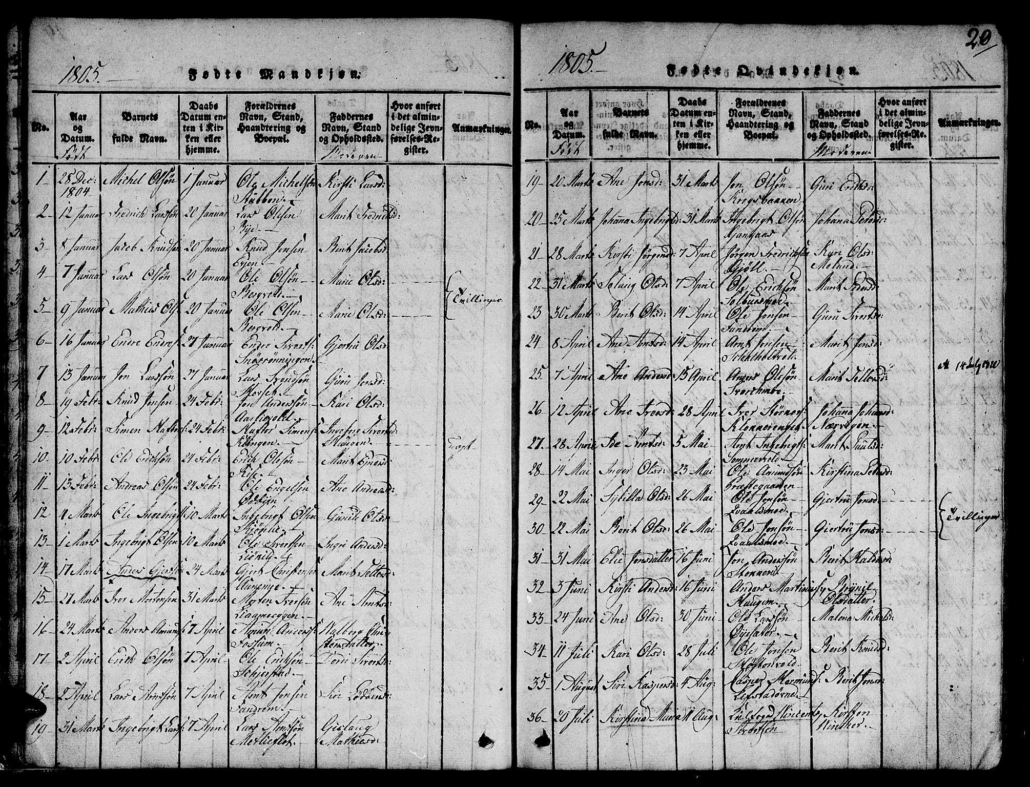 SAT, Ministerialprotokoller, klokkerbøker og fødselsregistre - Sør-Trøndelag, 668/L0803: Ministerialbok nr. 668A03, 1800-1826, s. 20
