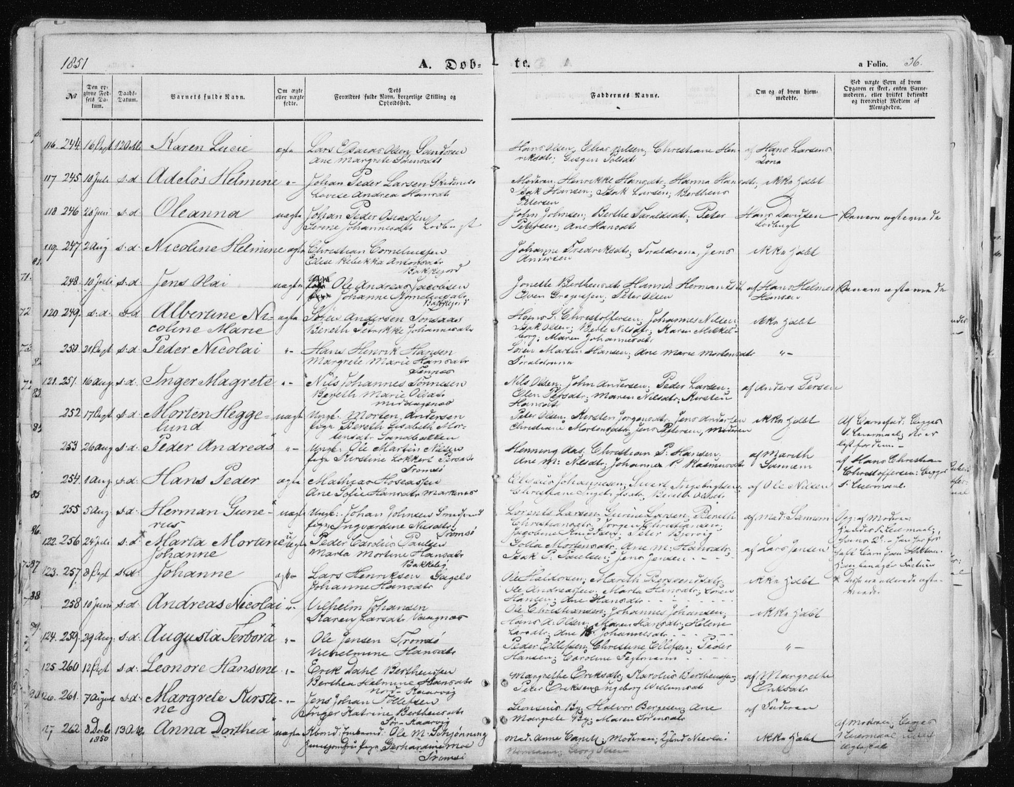 SATØ, Tromsø sokneprestkontor/stiftsprosti/domprosti, G/Ga/L0010kirke: Ministerialbok nr. 10, 1848-1855, s. 56