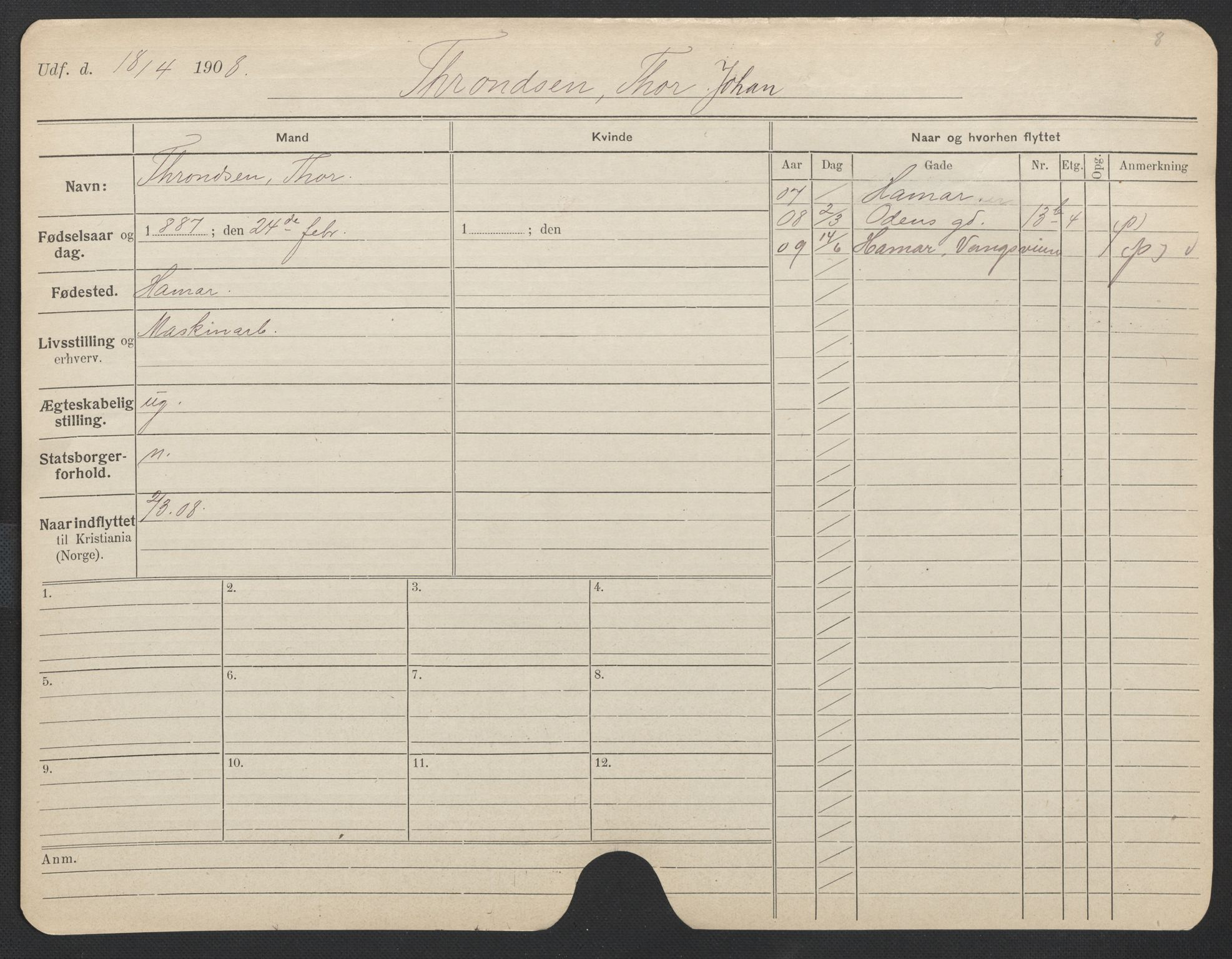 SAO, Oslo folkeregister, Registerkort, F/Fa/Fac/L0011: Menn, 1906-1914, s. 401a