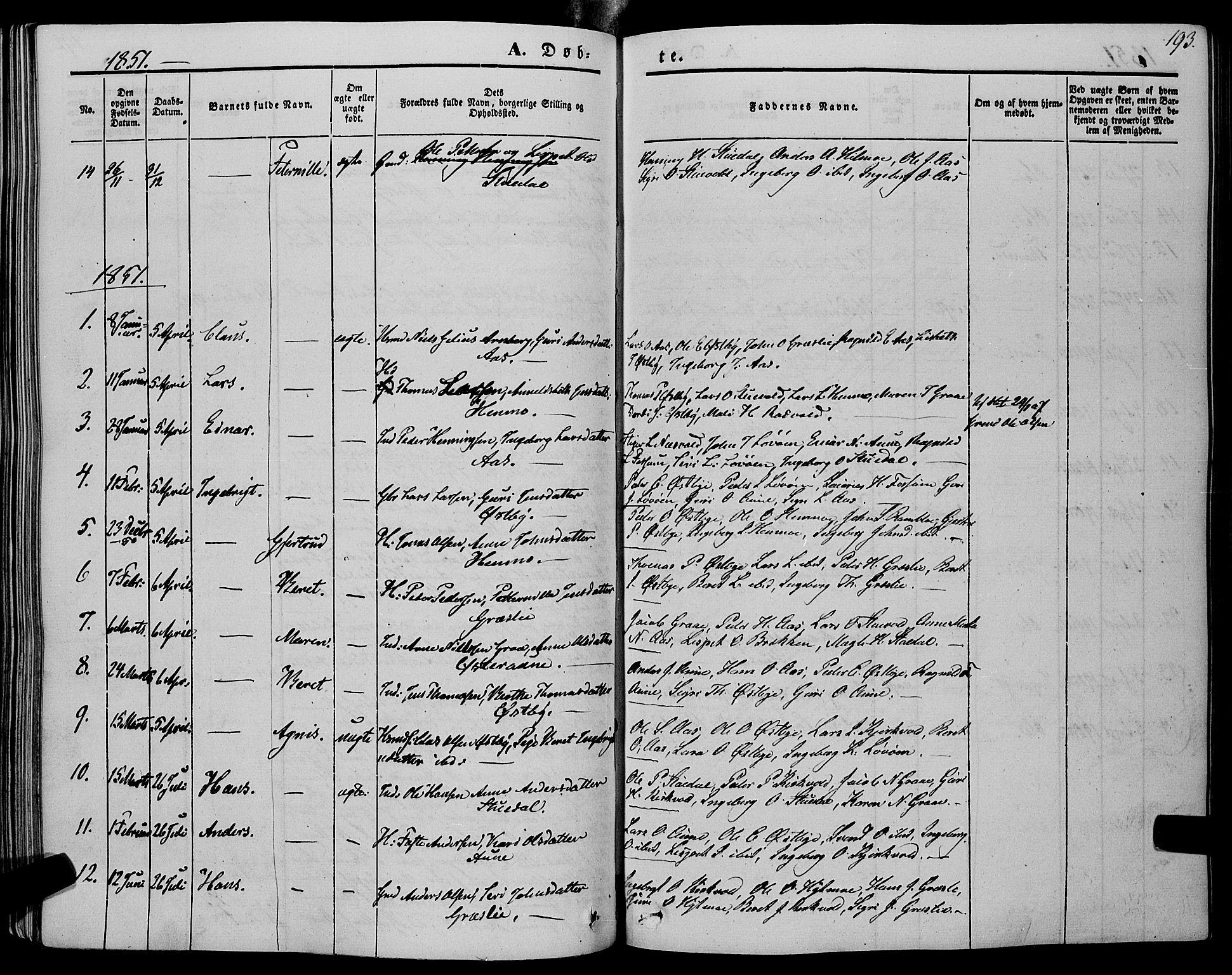 SAT, Ministerialprotokoller, klokkerbøker og fødselsregistre - Sør-Trøndelag, 695/L1146: Ministerialbok nr. 695A06 /2, 1843-1859, s. 193