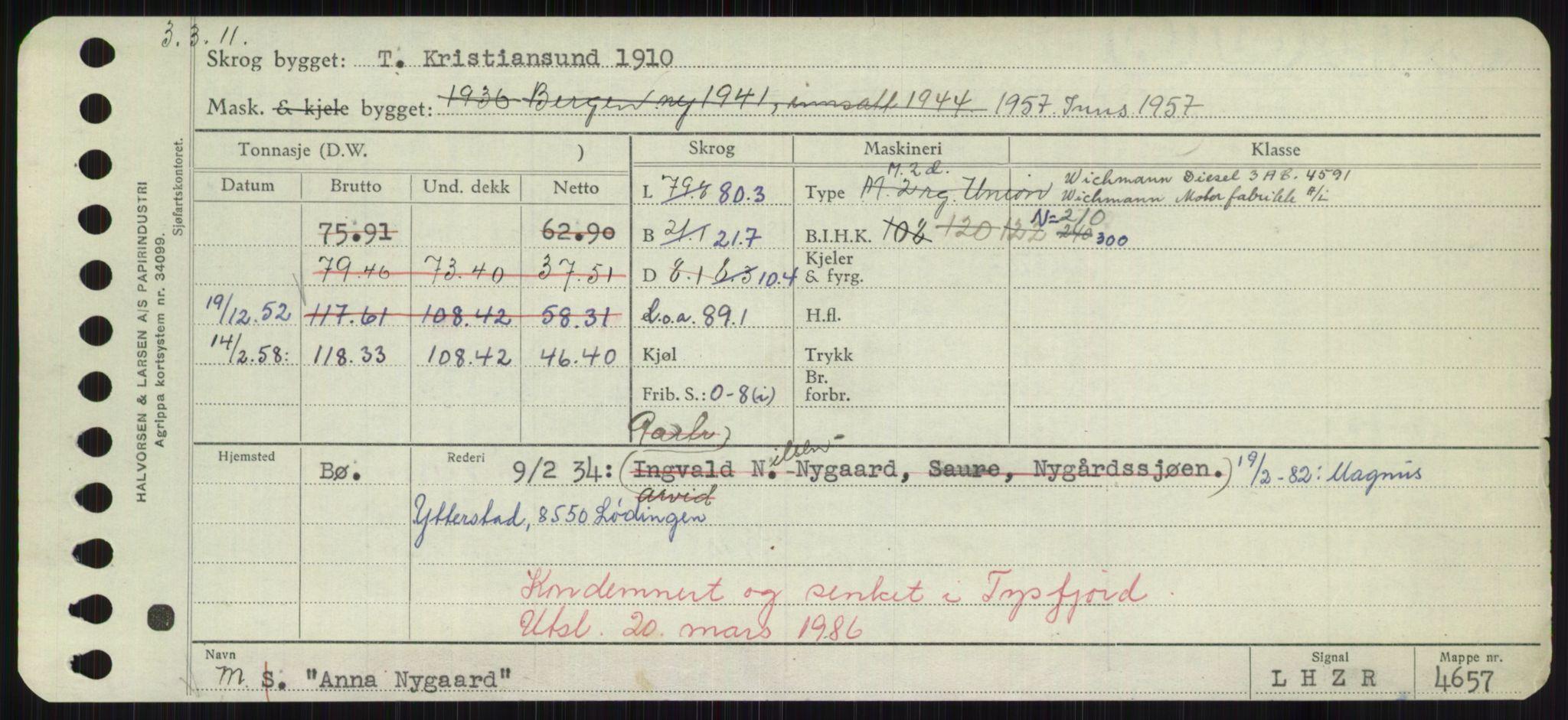 RA, Sjøfartsdirektoratet med forløpere, Skipsmålingen, H/Hd/L0001: Fartøy, A-Anv, s. 693