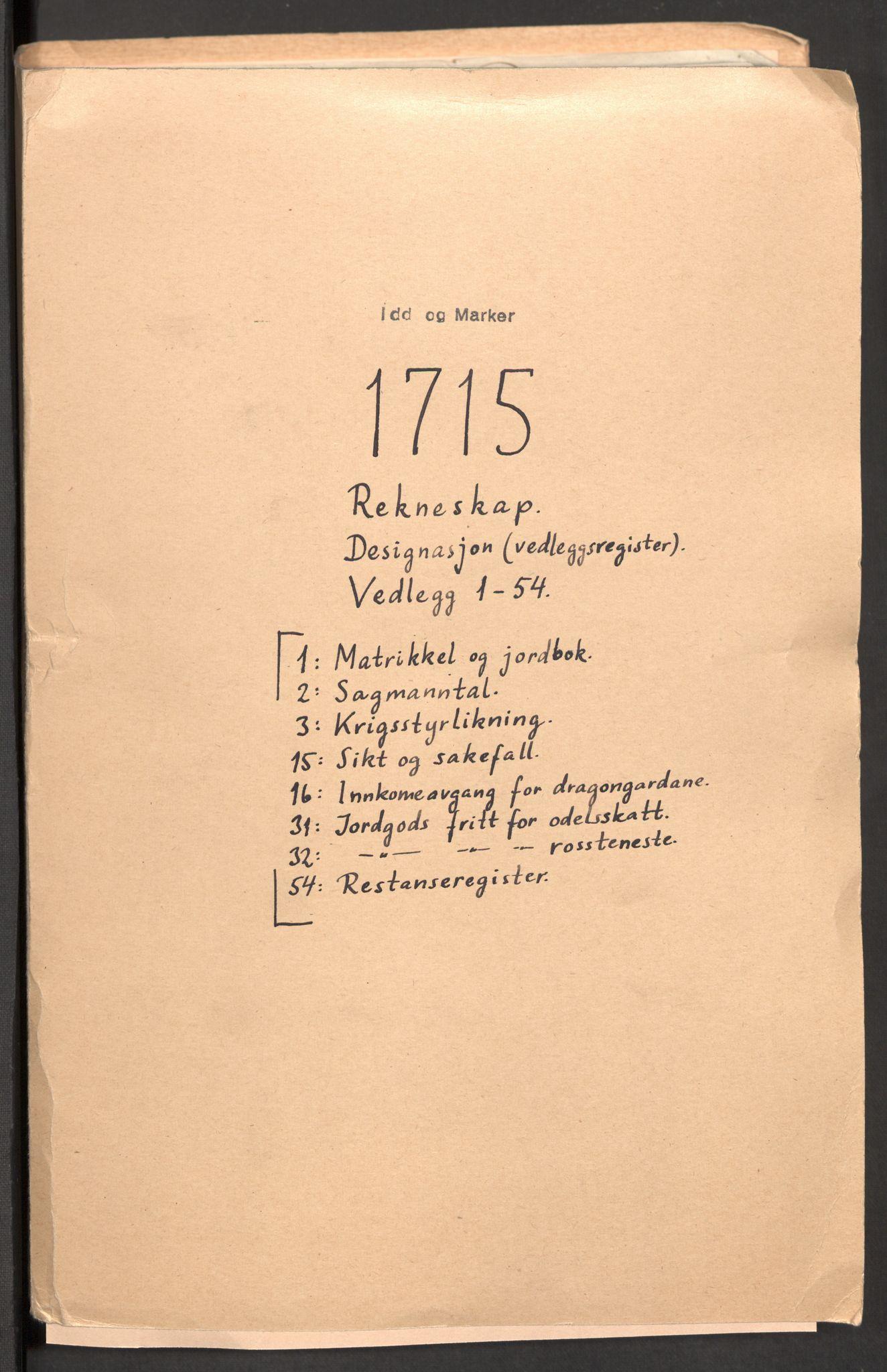 RA, Rentekammeret inntil 1814, Reviderte regnskaper, Fogderegnskap, R01/L0023: Fogderegnskap Idd og Marker, 1715-1716, s. 2