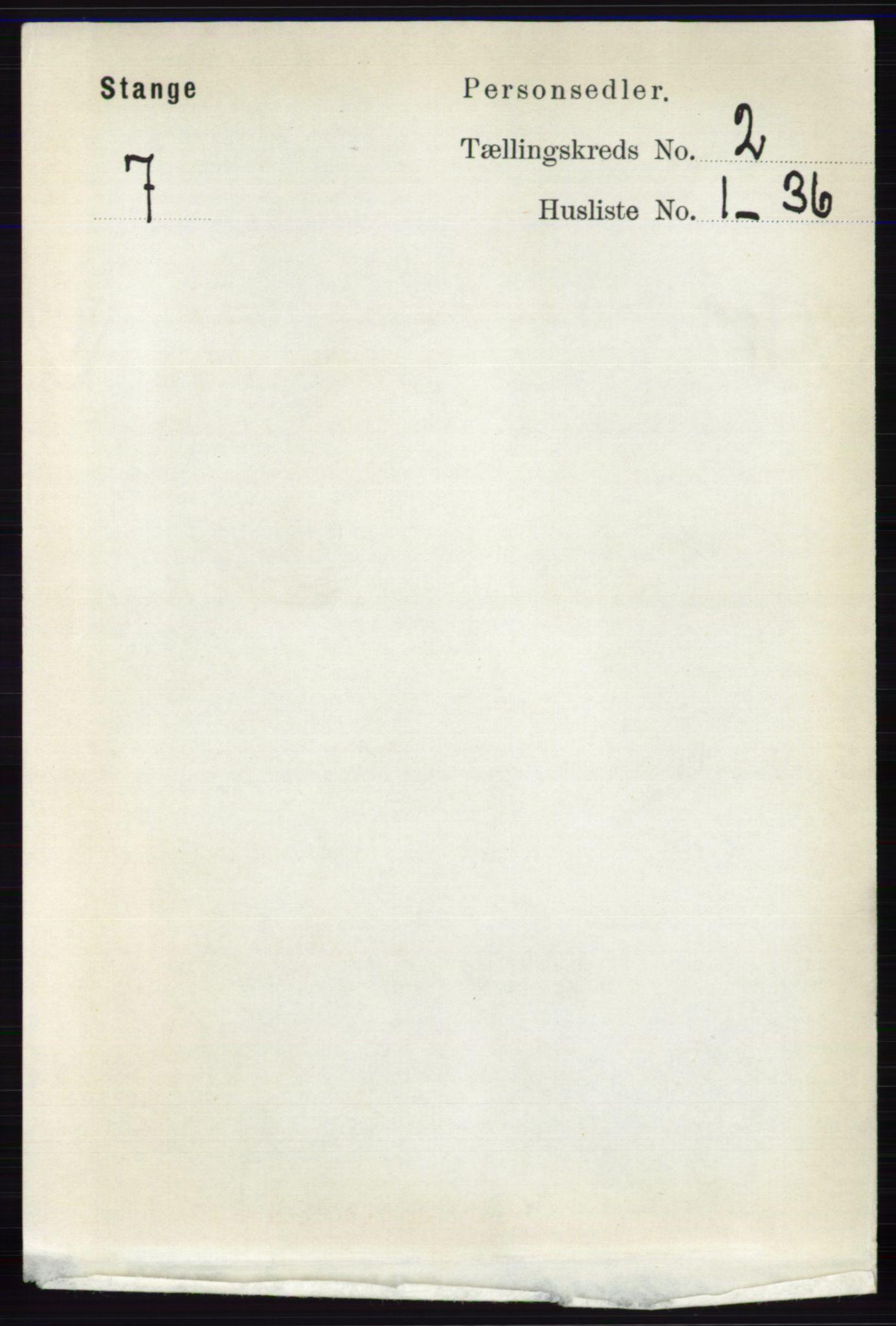 RA, Folketelling 1891 for 0417 Stange herred, 1891, s. 943
