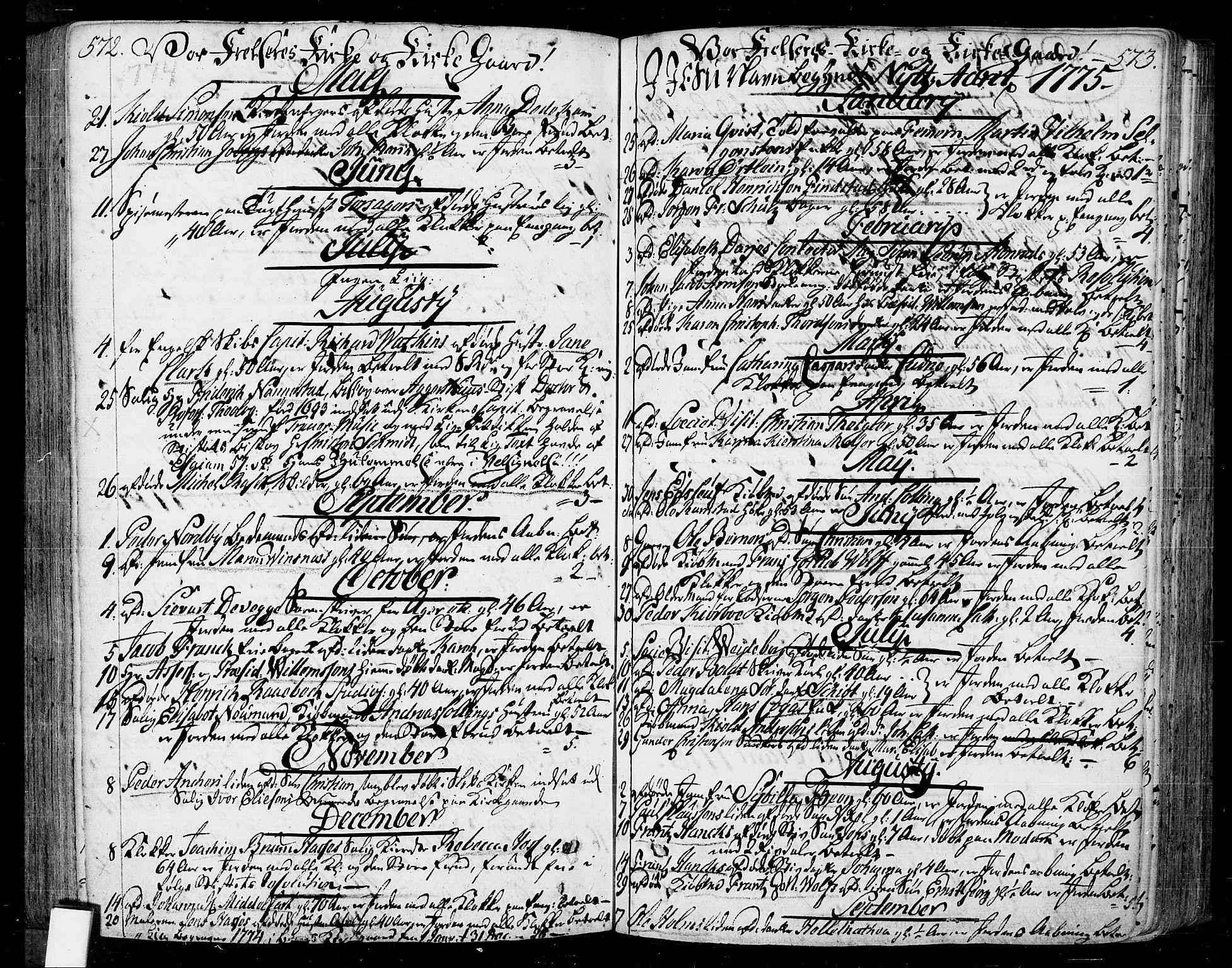SAO, Oslo domkirke Kirkebøker, F/Fa/L0004: Ministerialbok nr. 4, 1743-1786, s. 572-573
