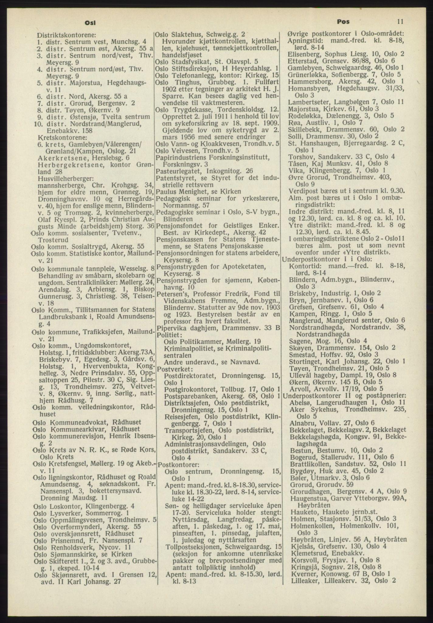 RA, Oslo adressebok (publikasjon)*, 1970-1971, s. 11