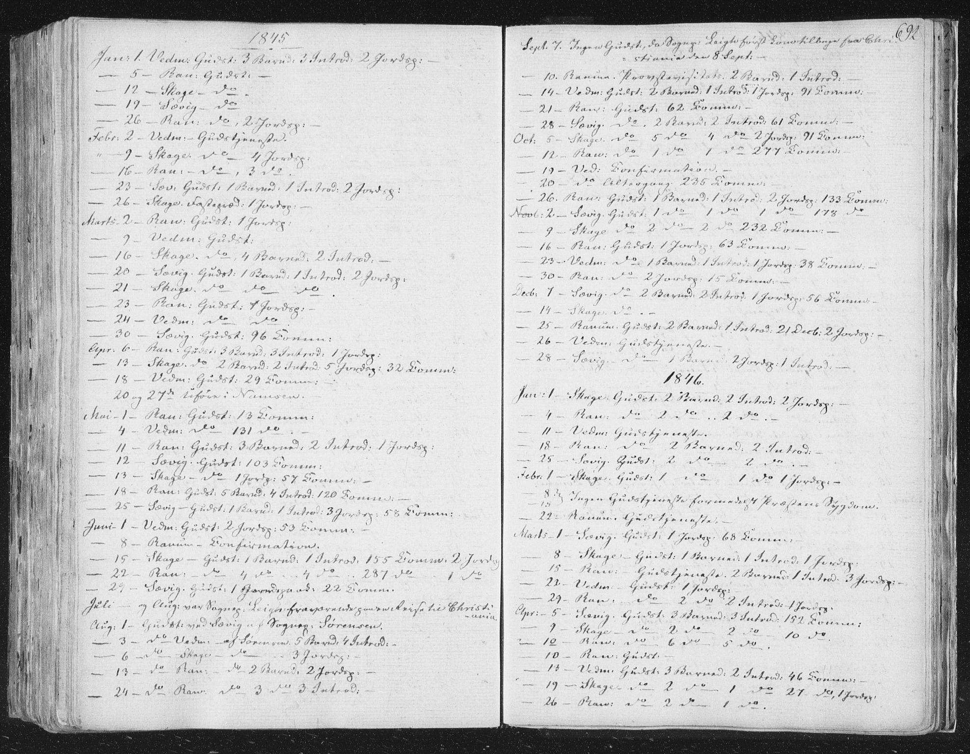 SAT, Ministerialprotokoller, klokkerbøker og fødselsregistre - Nord-Trøndelag, 764/L0552: Ministerialbok nr. 764A07b, 1824-1865, s. 692