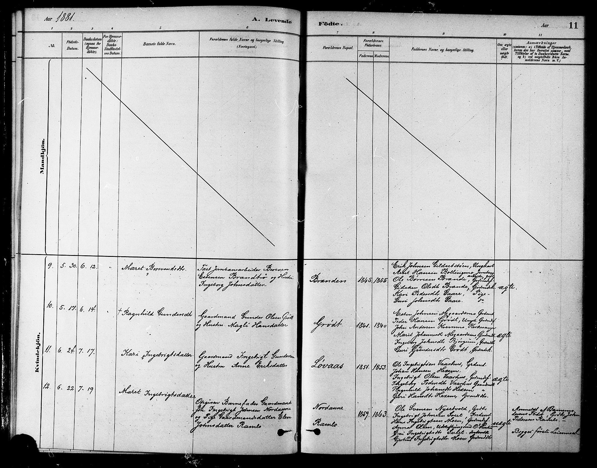SAT, Ministerialprotokoller, klokkerbøker og fødselsregistre - Sør-Trøndelag, 685/L0972: Ministerialbok nr. 685A09, 1879-1890, s. 11