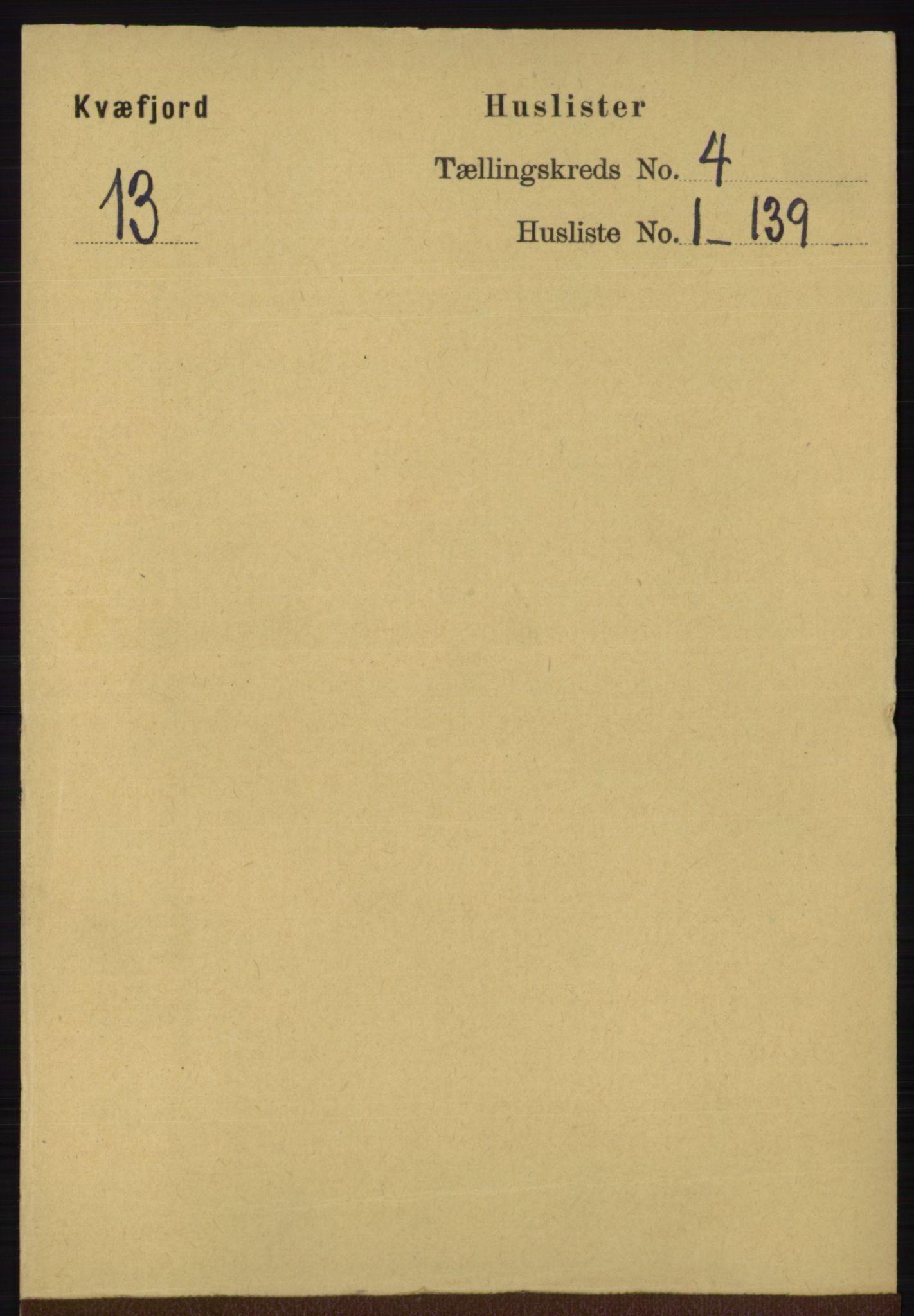 RA, Folketelling 1891 for 1911 Kvæfjord herred, 1891, s. 1749