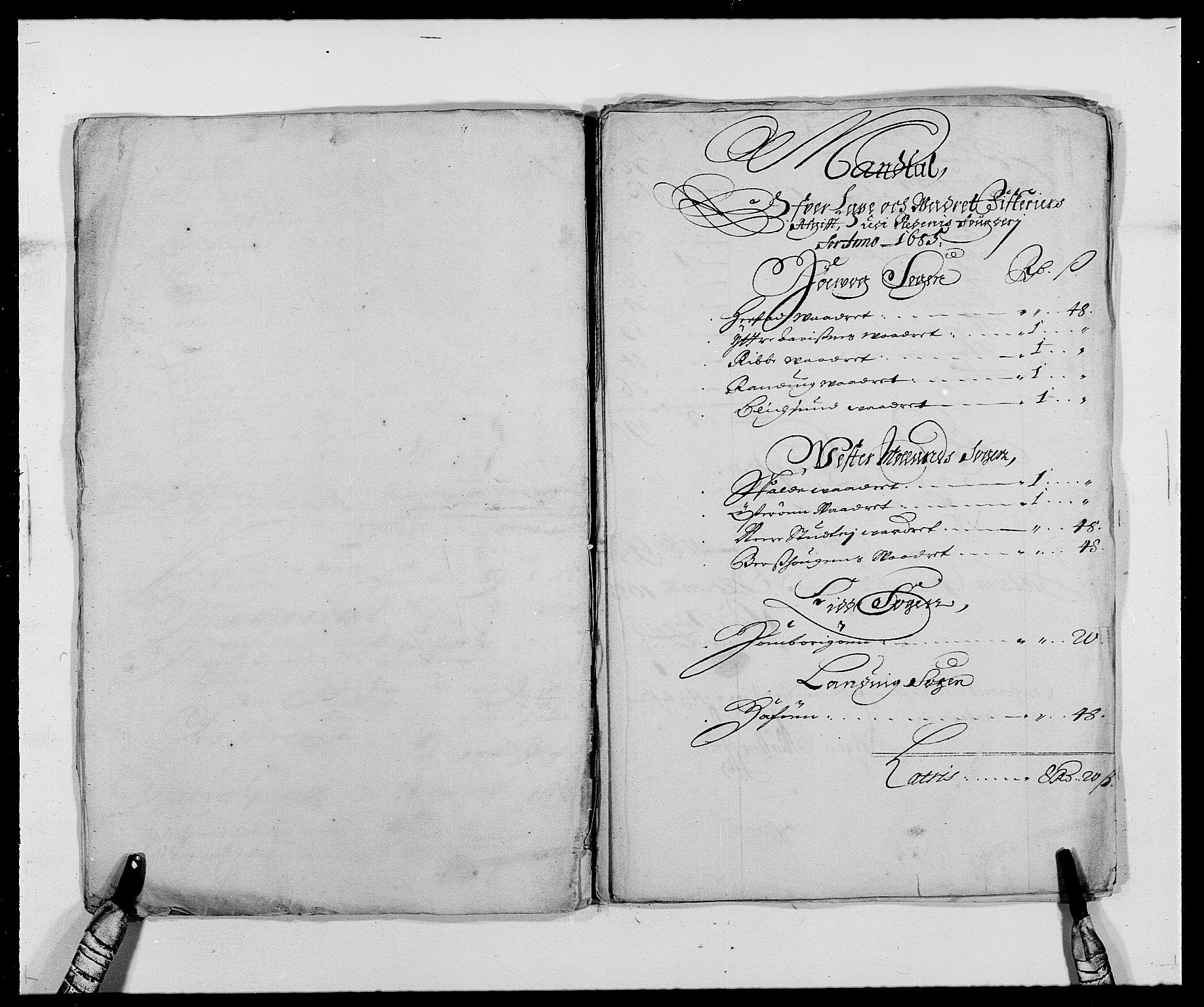RA, Rentekammeret inntil 1814, Reviderte regnskaper, Fogderegnskap, R39/L2308: Fogderegnskap Nedenes, 1684-1689, s. 200