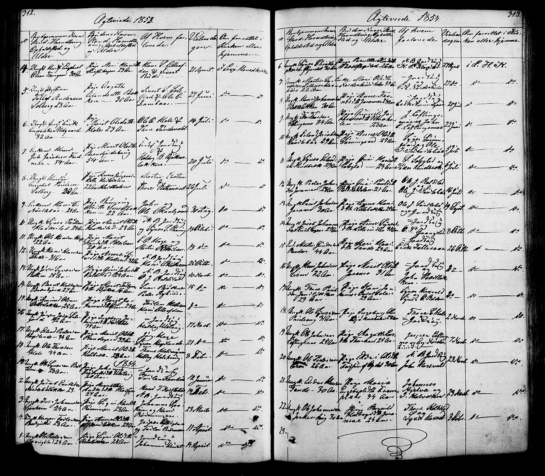 SAH, Lesja prestekontor, Klokkerbok nr. 5, 1850-1894, s. 312-313